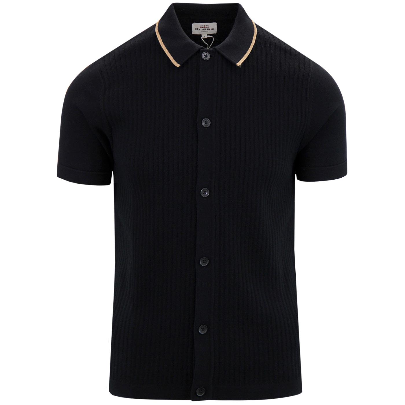 BEN SHERMAN 60's Mod Ribbed Button Up Polo Top (B)
