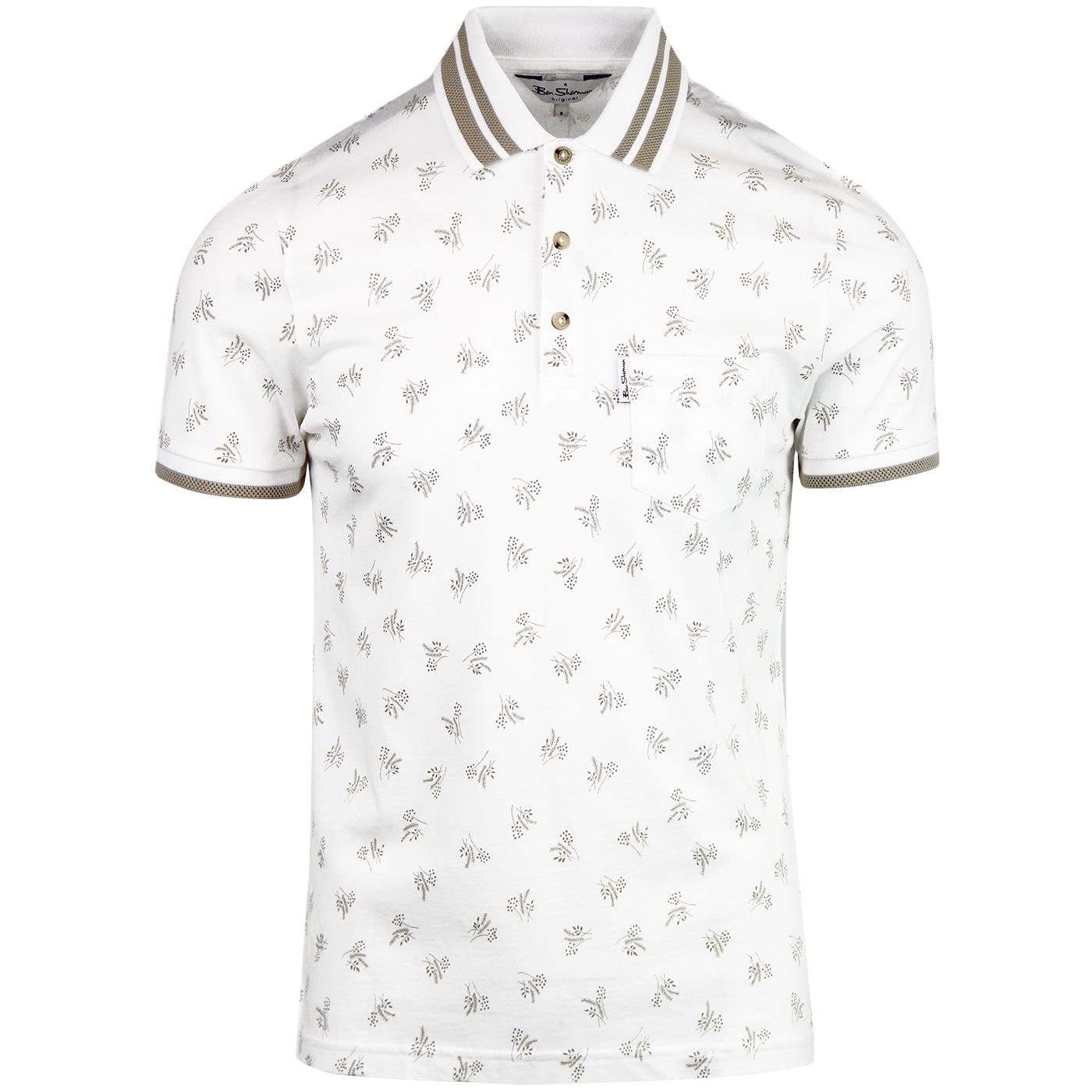 BEN SHERMAN 1970's Archive Print Mod Polo (White)