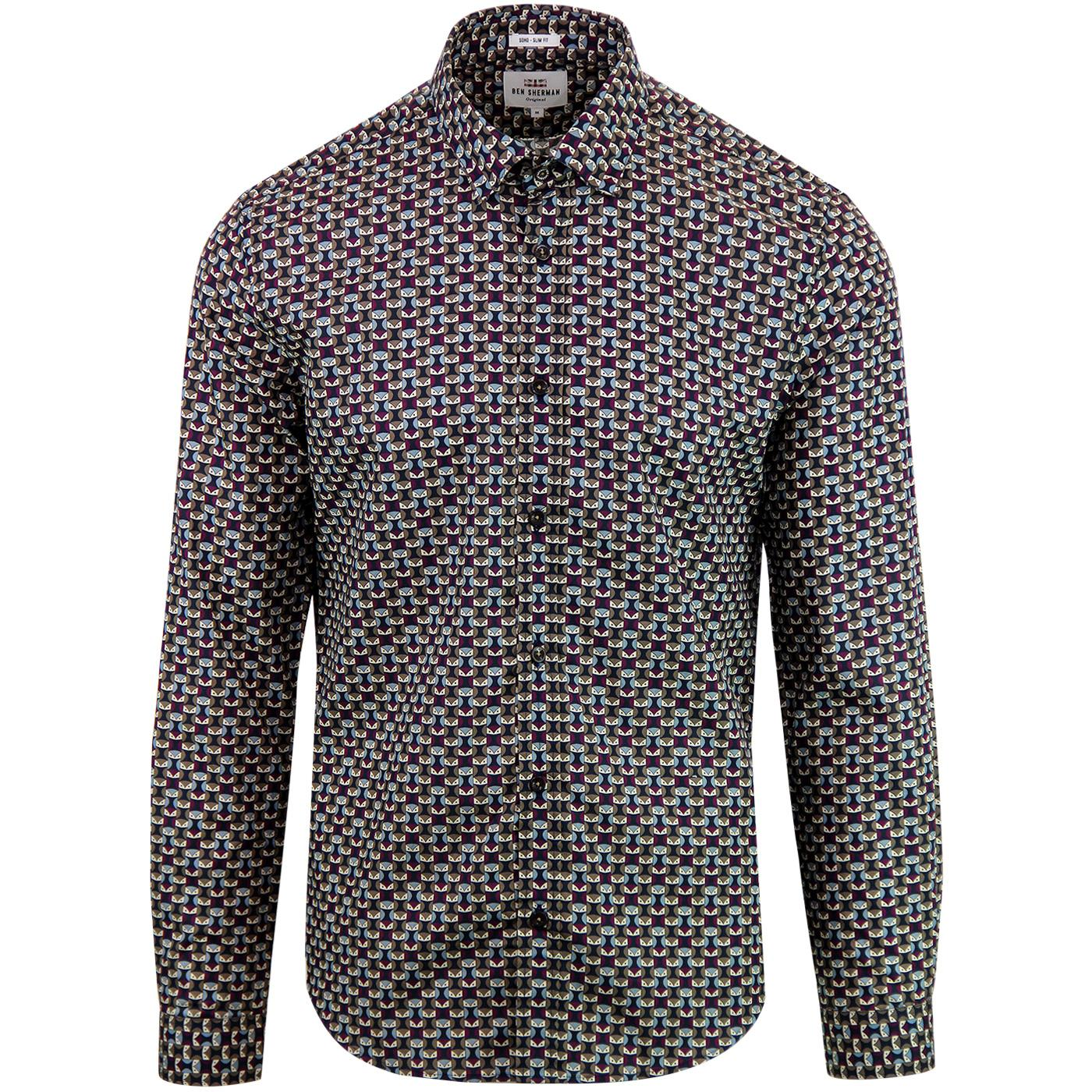 BEN SHERMAN Mens Retro Sixties Geo Owl Print Shirt