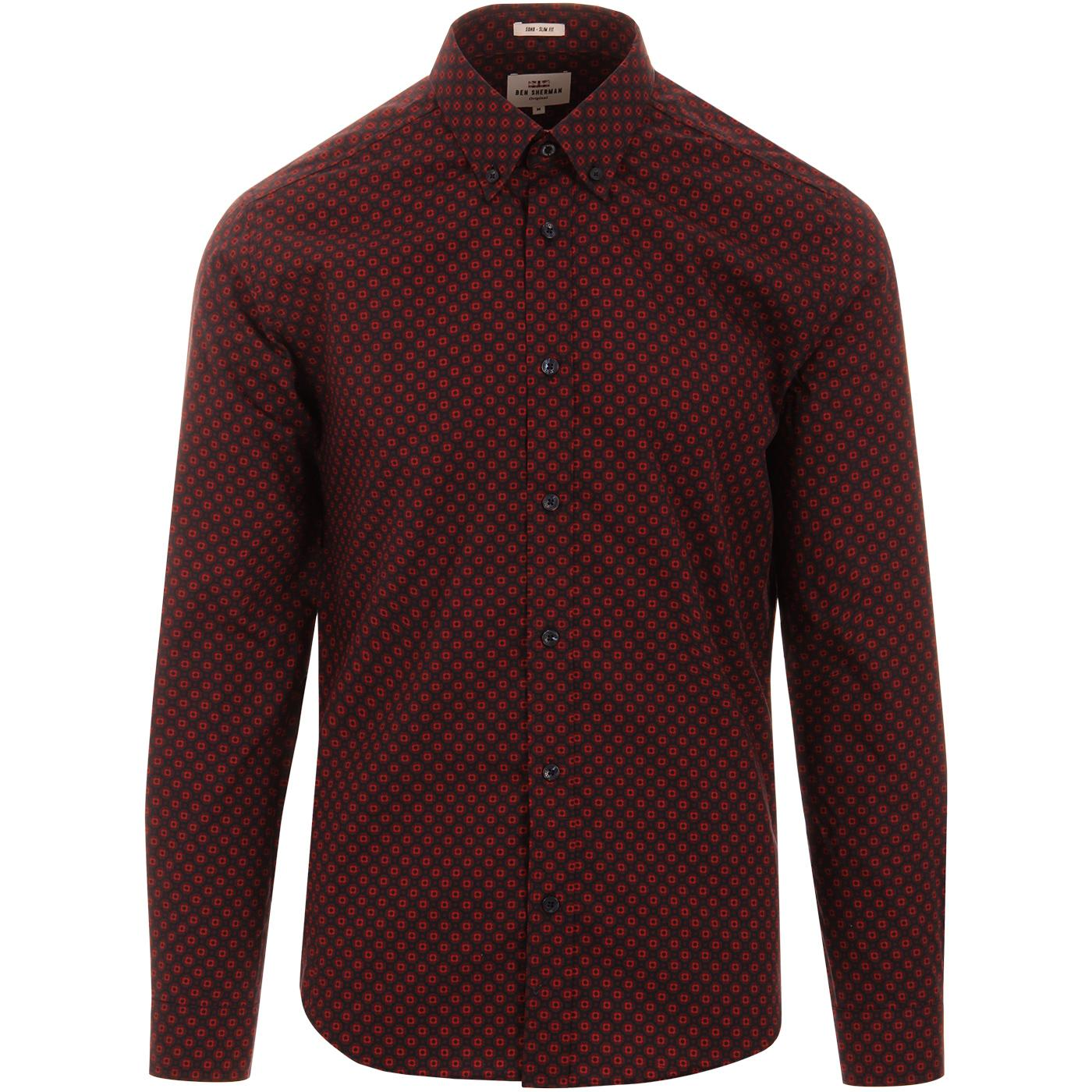 BEN SHERMAN Men's Retro Mod Geometric Print Shirt