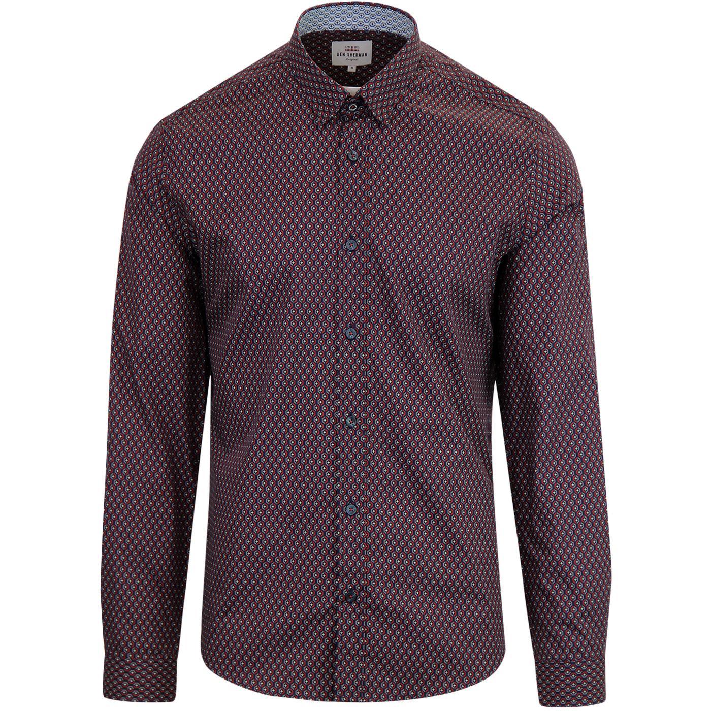 BEN SHERMAN Men's Retro Geo Pop Pattern Shirt