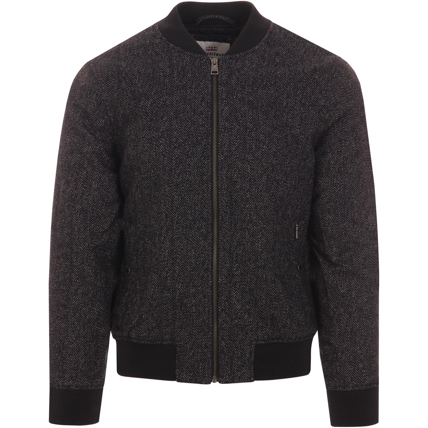 BEN SHERMAN Mod Herringbone Bomber Jacket (Coffee)