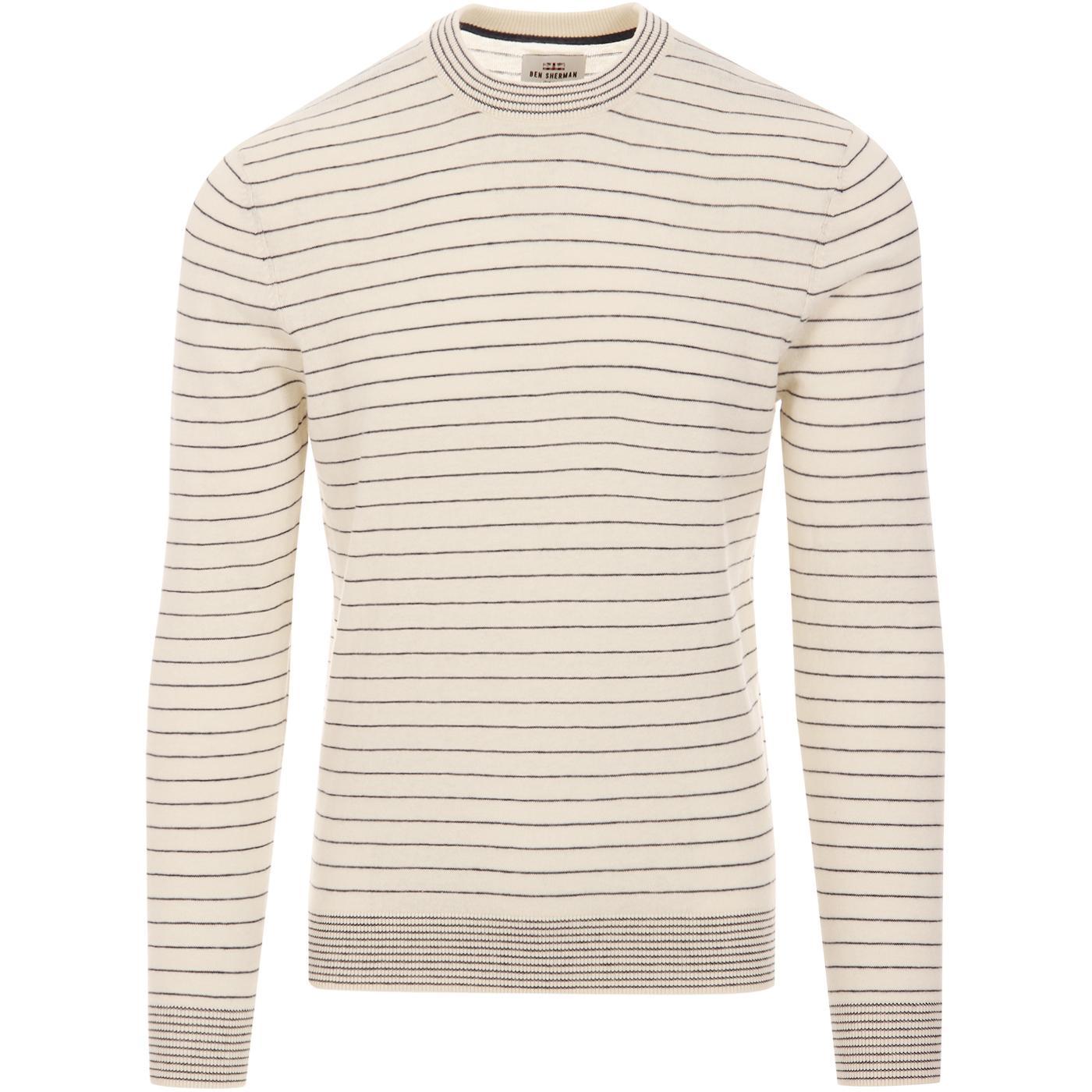 BEN SHERMAN Retro Mod Fine Stripe Knit Jumper (OW)