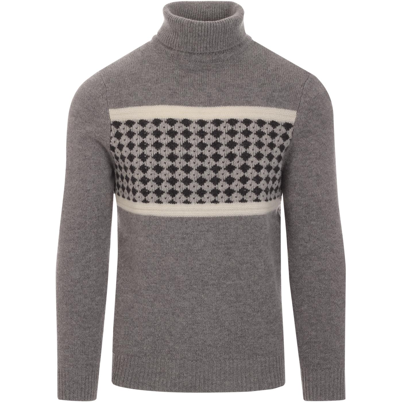 BEN SHERMAN 60s Mod Intarsia Knit Roll Neck Jumper