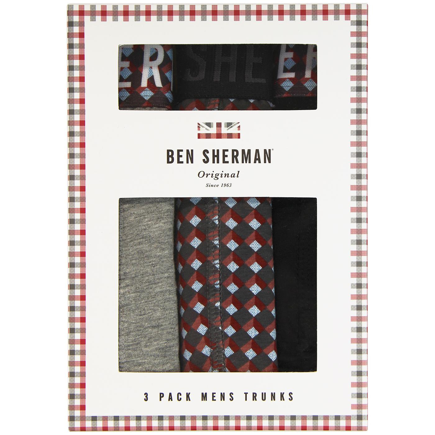 Bertie BEN SHERMAN 3 Pack Retro Trunks Grey/Print