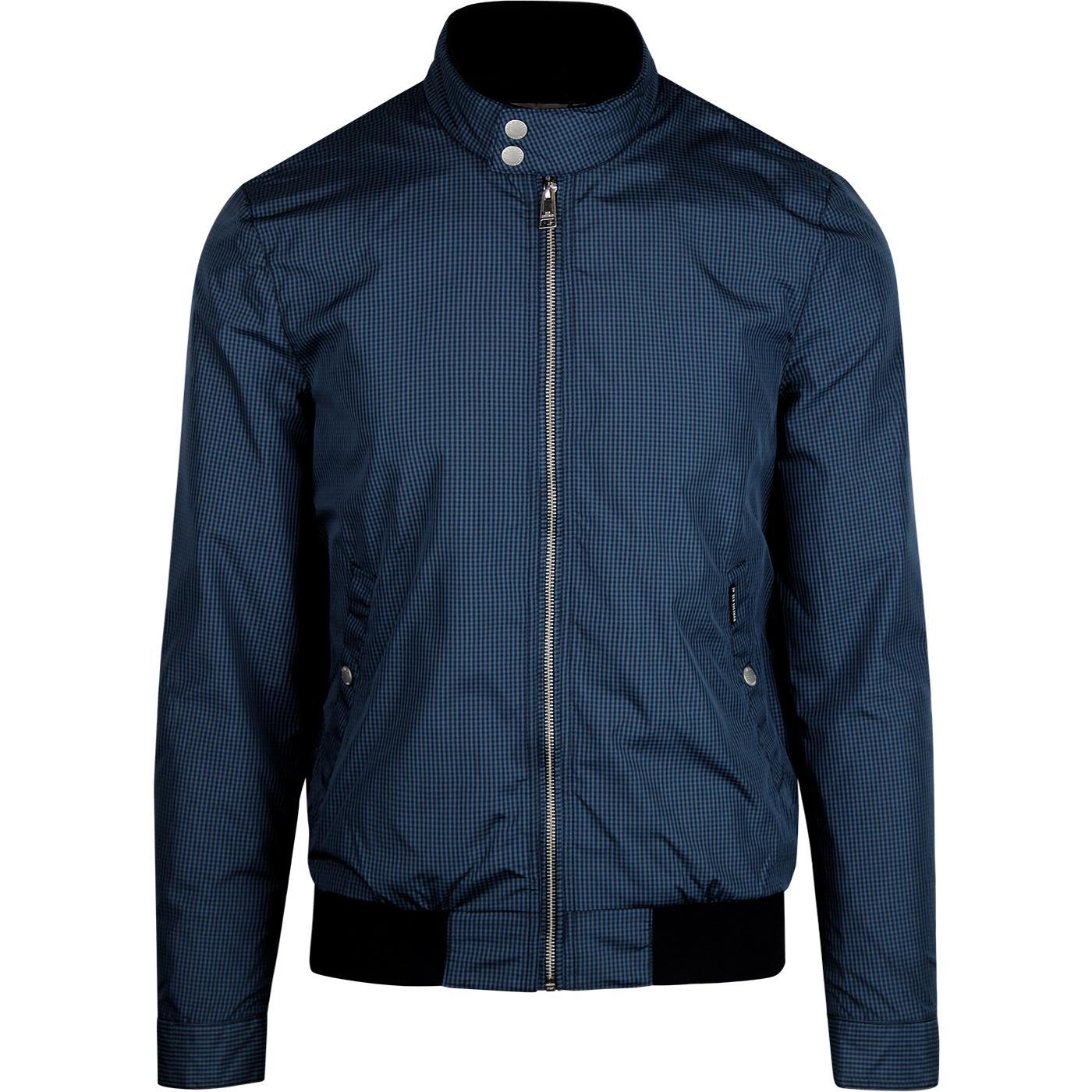 BEN SHERMAN Mens Micro Check Mod Harrington Jacket