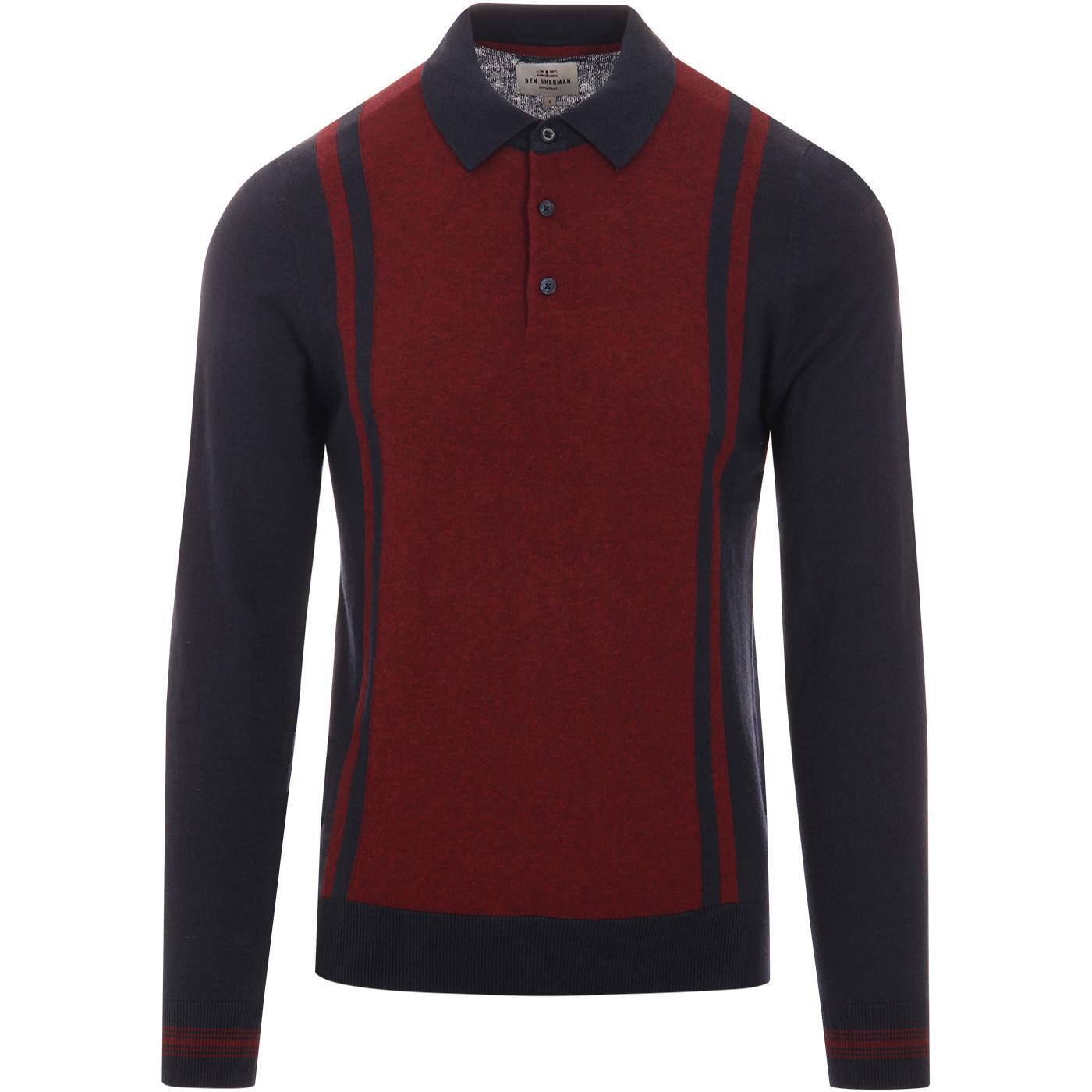 BEN SHERMAN Mod Colour Block Stripe Knit Polo Top