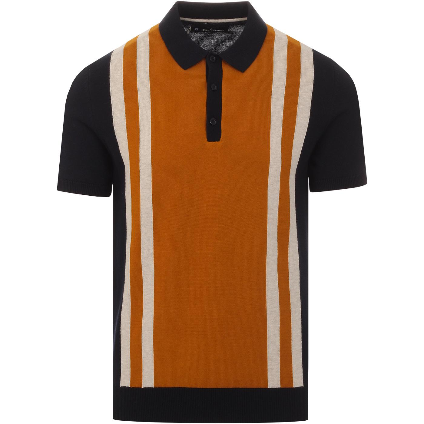 BEN SHERMAN 60s Mod Stripe Panel Knit Polo Top (N)