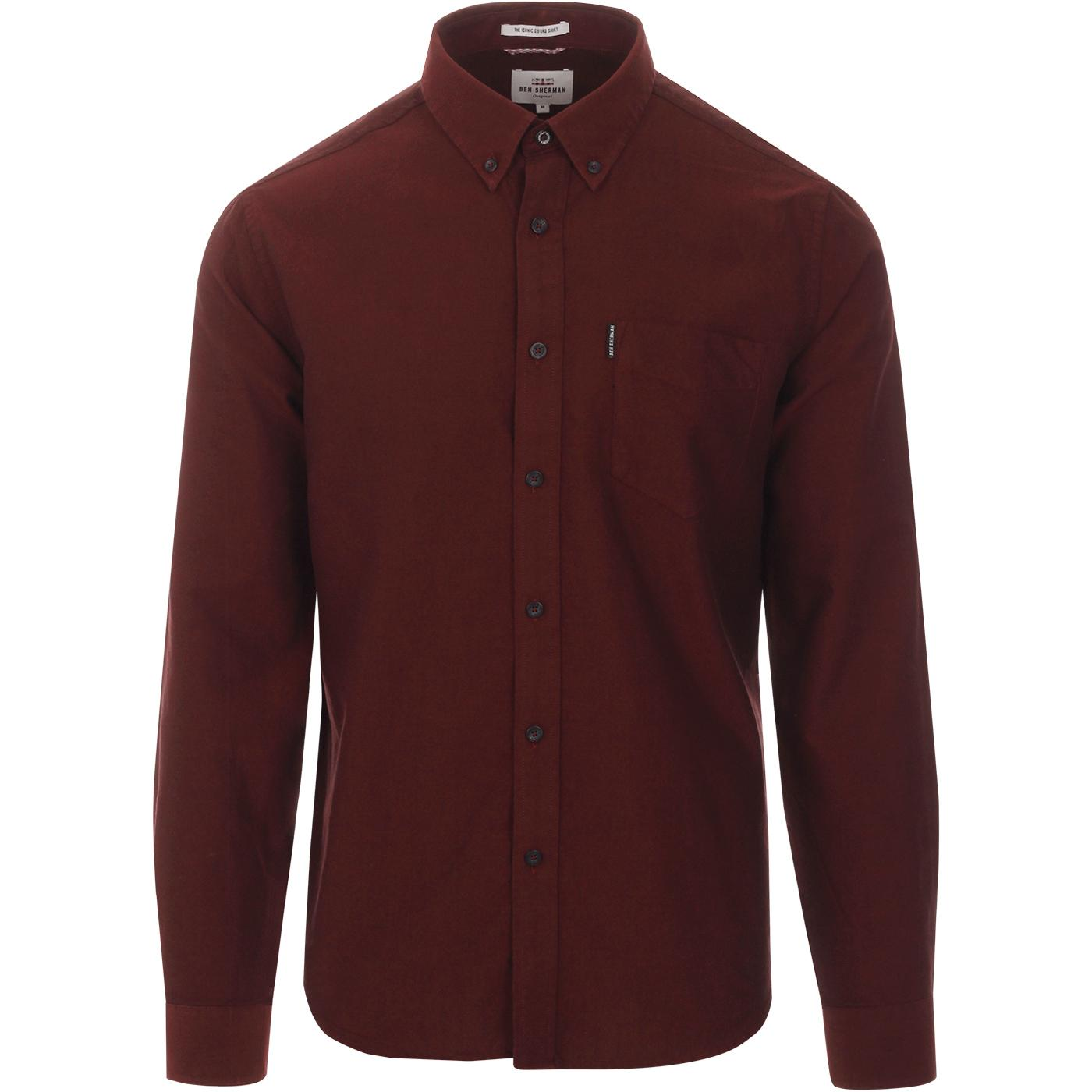 BEN SHERMAN Mod Button Down Oxford Shirt BROWN
