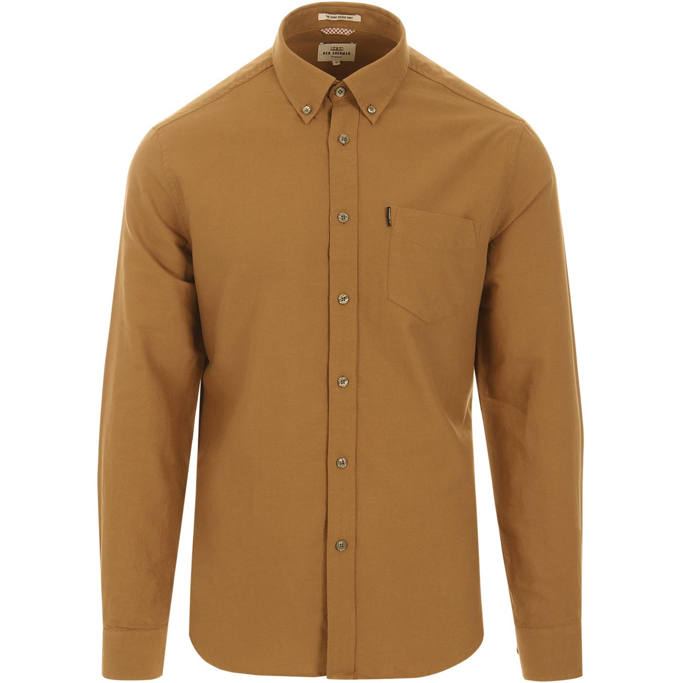BEN SHERMAN Mod Button Down Oxford Shirt CAMEL