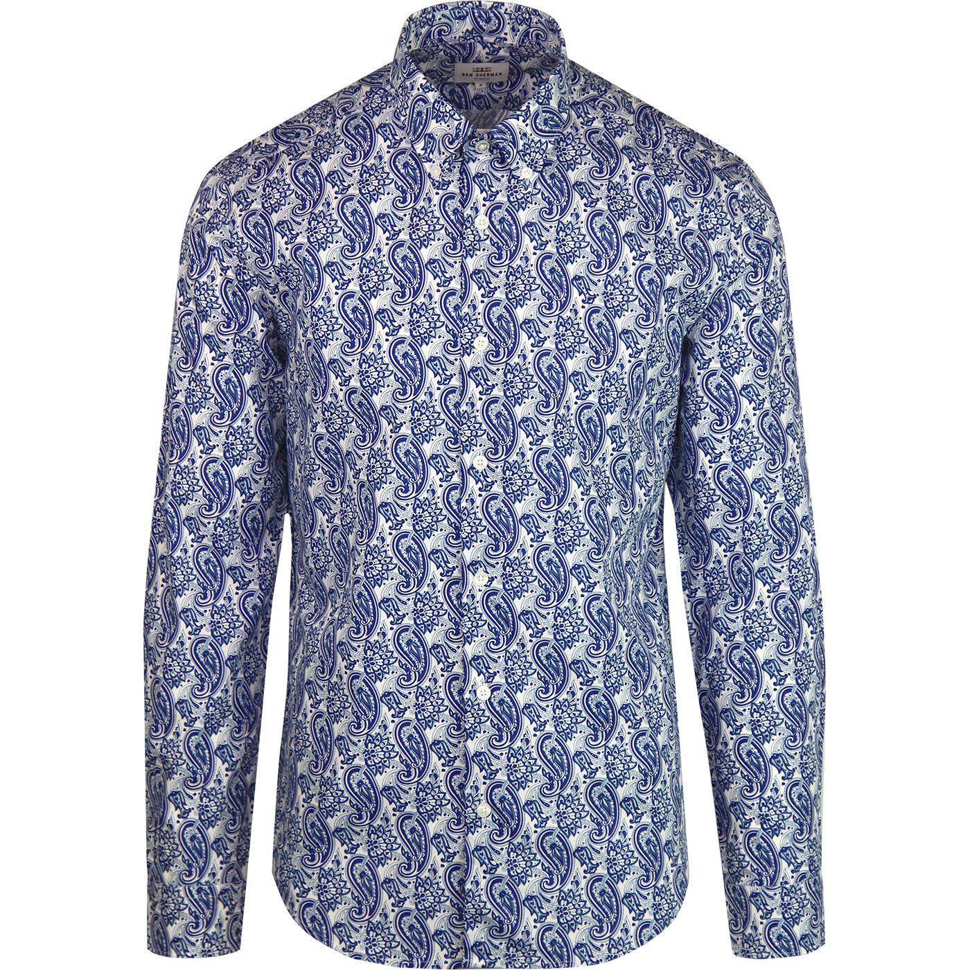 BEN SHERMAN Mod Linear Paisley Button Down Shirt
