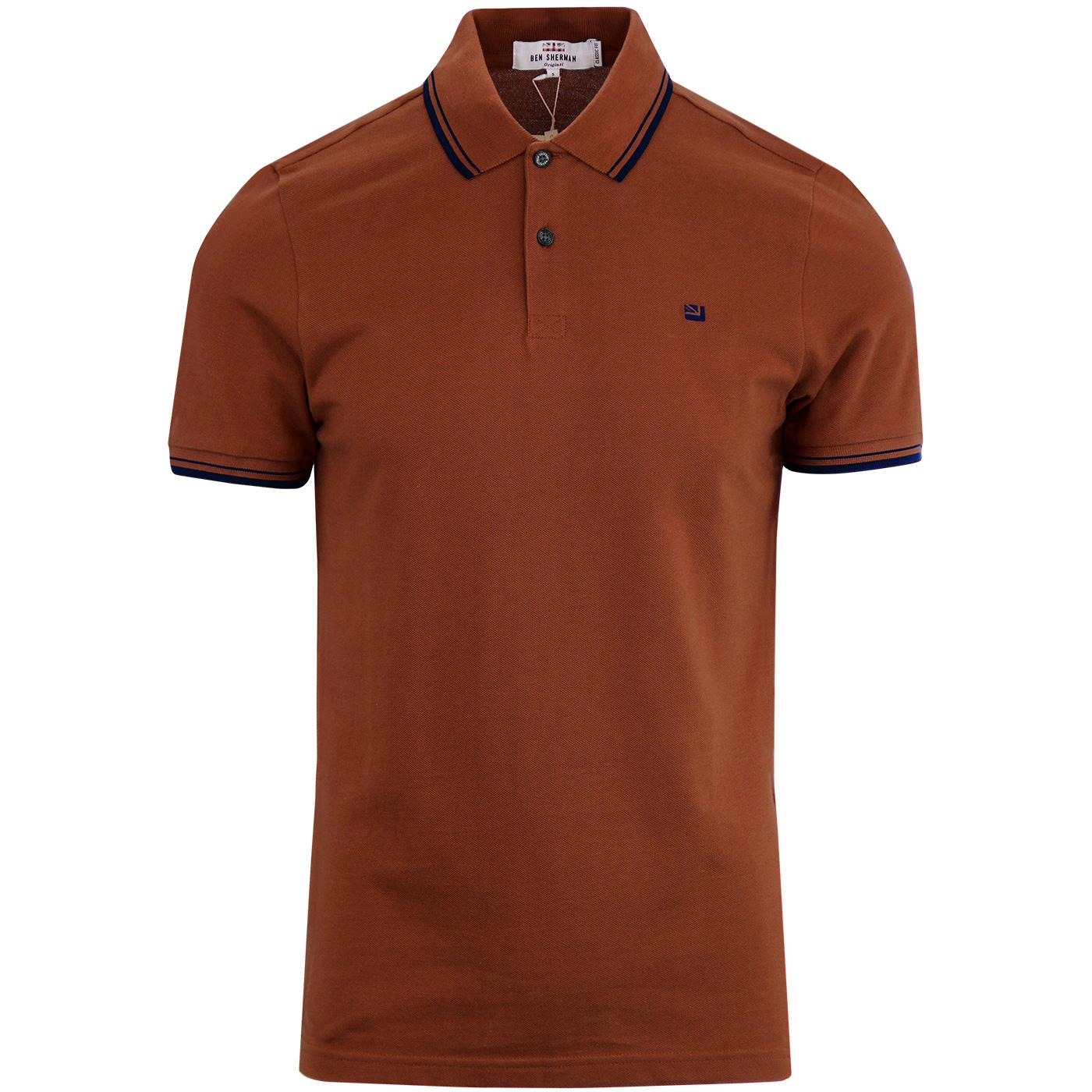 BEN SHERMAN Romford Mod Tipped Polo Shirt RUST