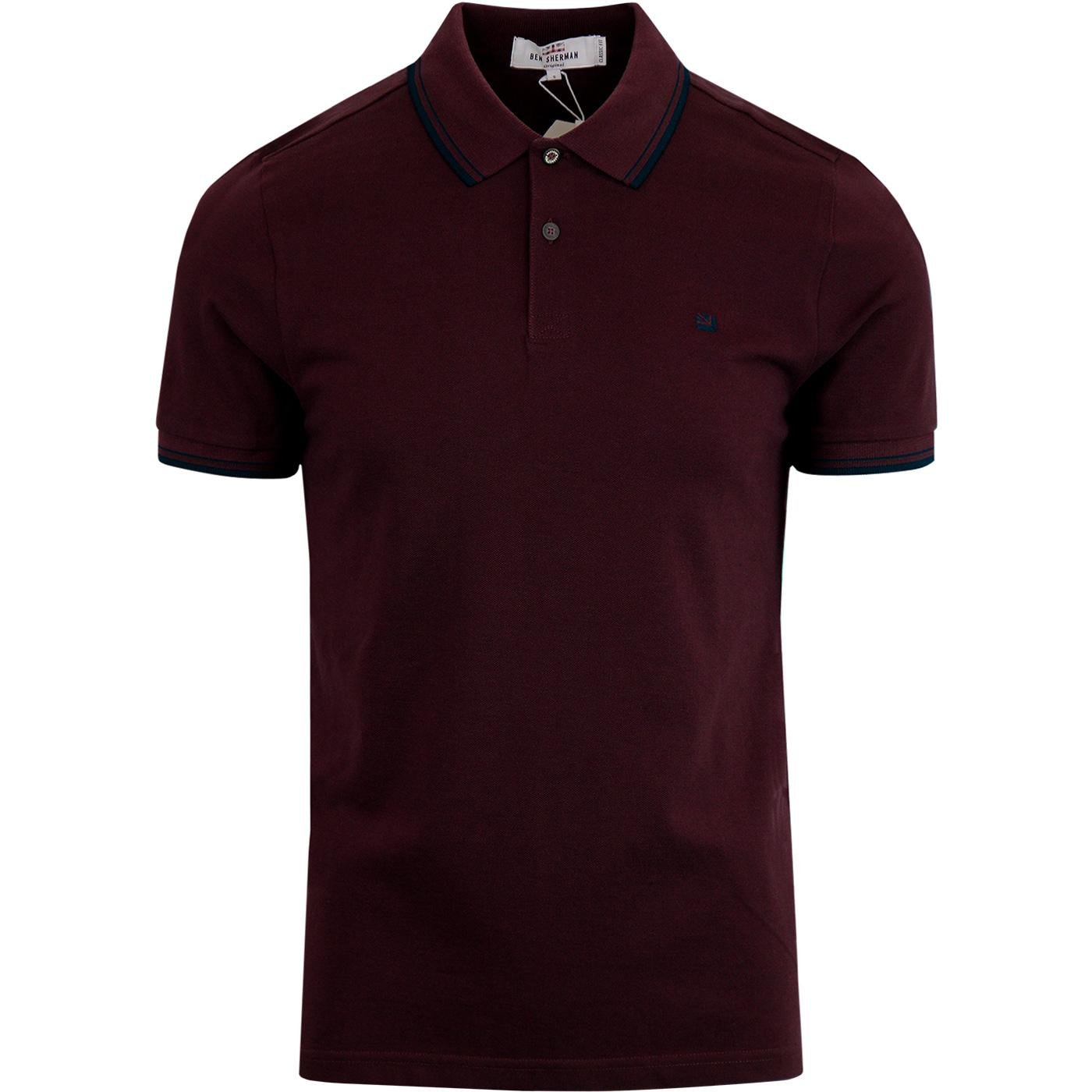 BEN SHERMAN Romford Mod Tipped Polo Shirt WINE