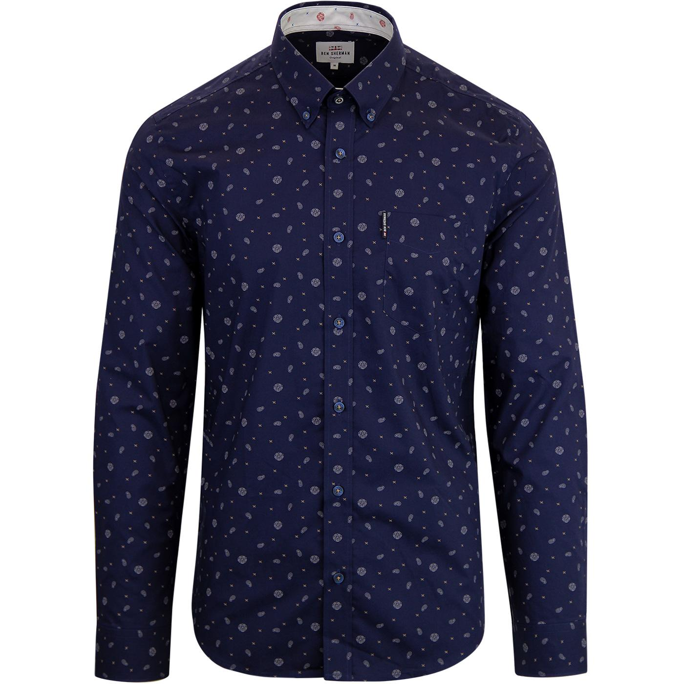BEN SHERMAN Northern Soul Rose Scatter Mod Shirt N