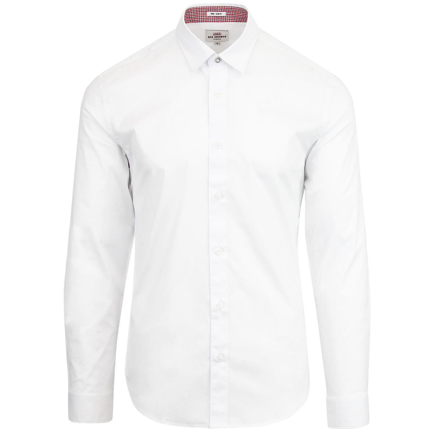 BEN SHERMAN 60s Mod Stretch Poplin Shirt - White