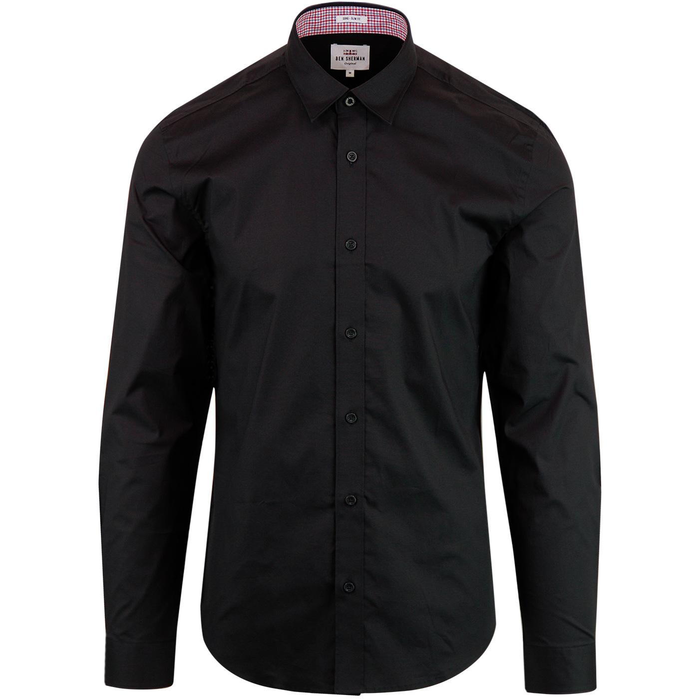 BEN SHERMAN Retro Stretch Poplin Shirt - Black