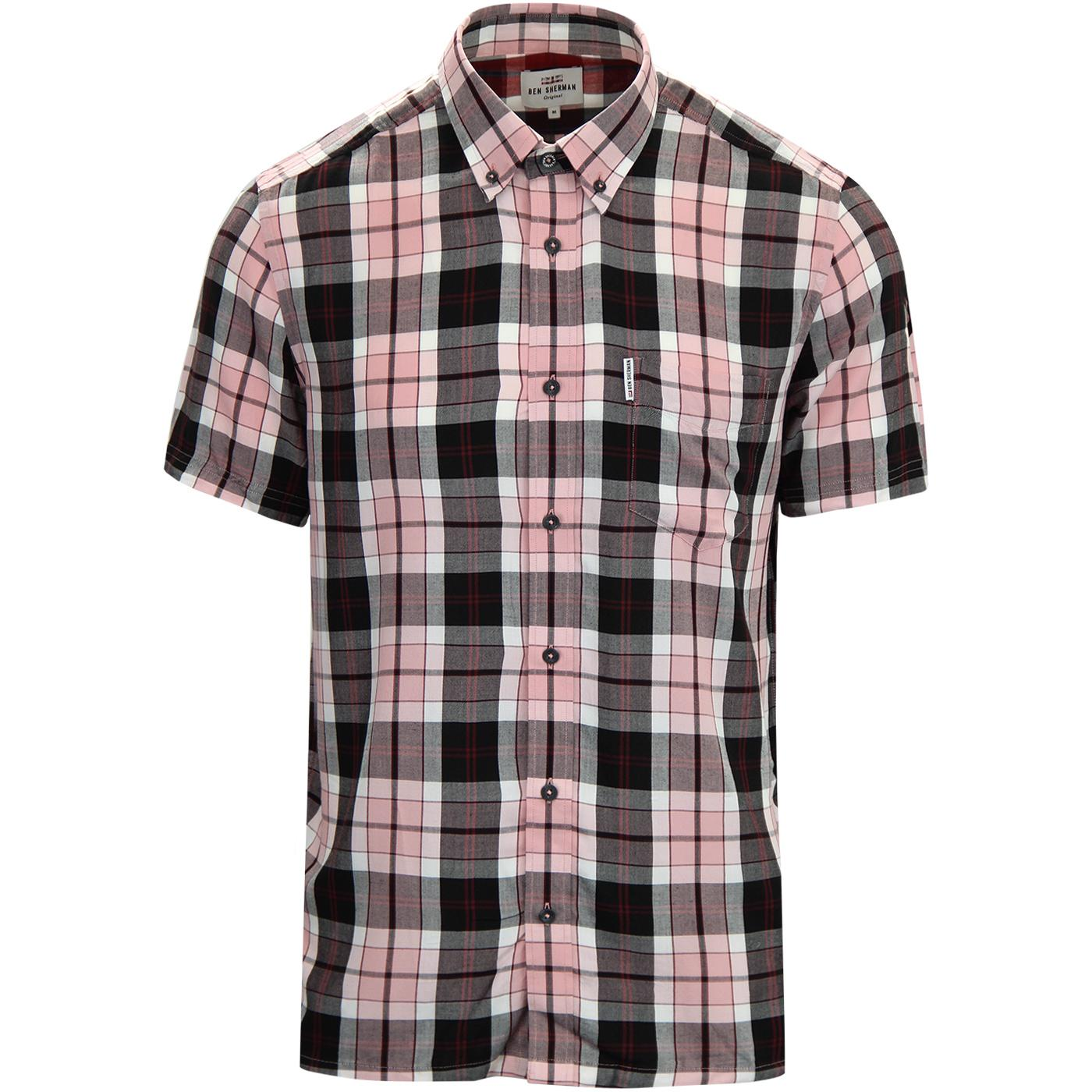 BEN SHERMAN Retro 60s Mod Plaid Check Shirt (Pink)