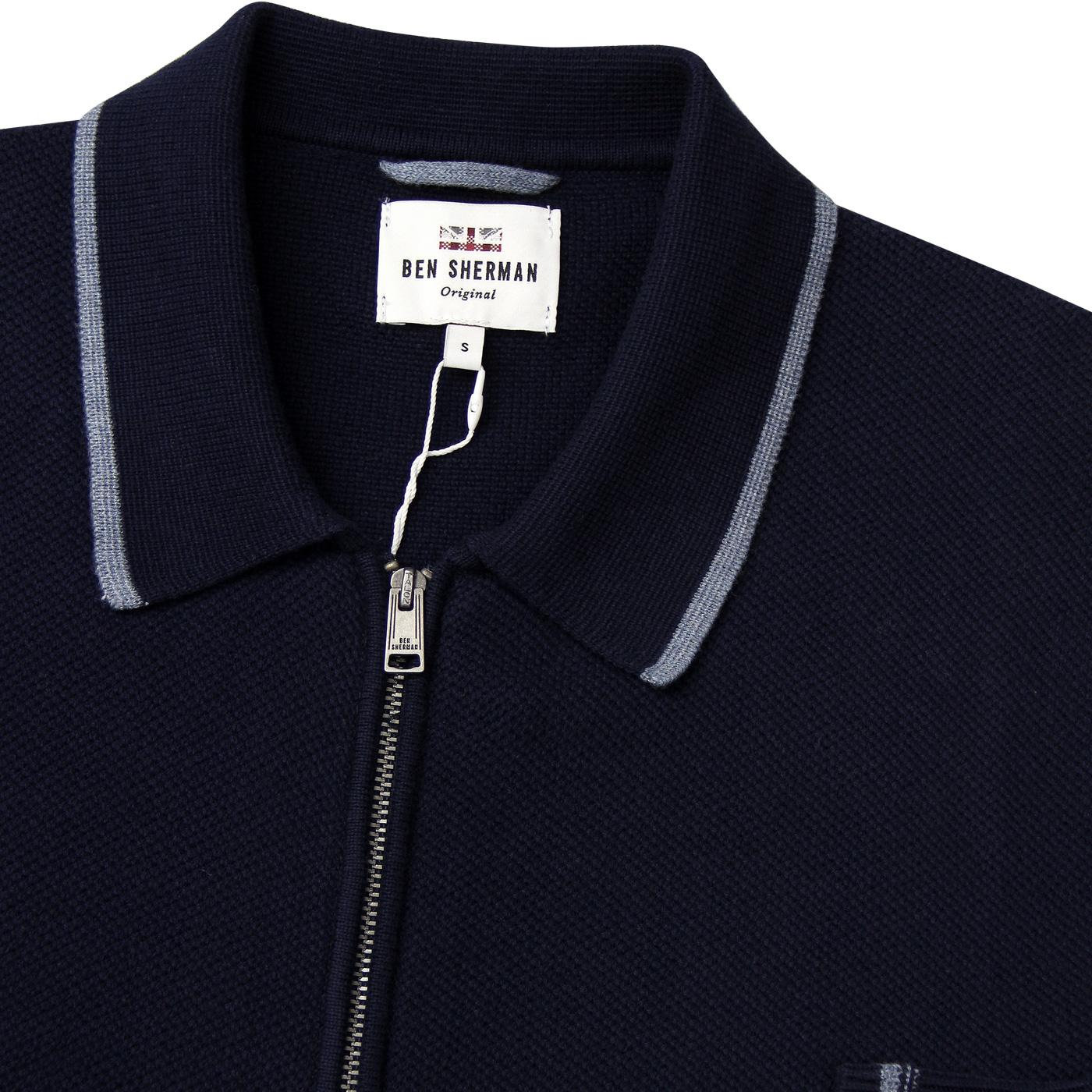 a2ee2b017f059 BEN SHERMAN Mens Honeycomb Knit Polo Cardigan in Navy