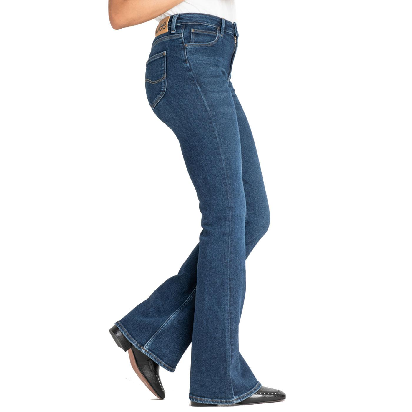 shop authentic quality 50-70%off LEE Breese Retro High Rise Flare Jeans in Dark Wardell
