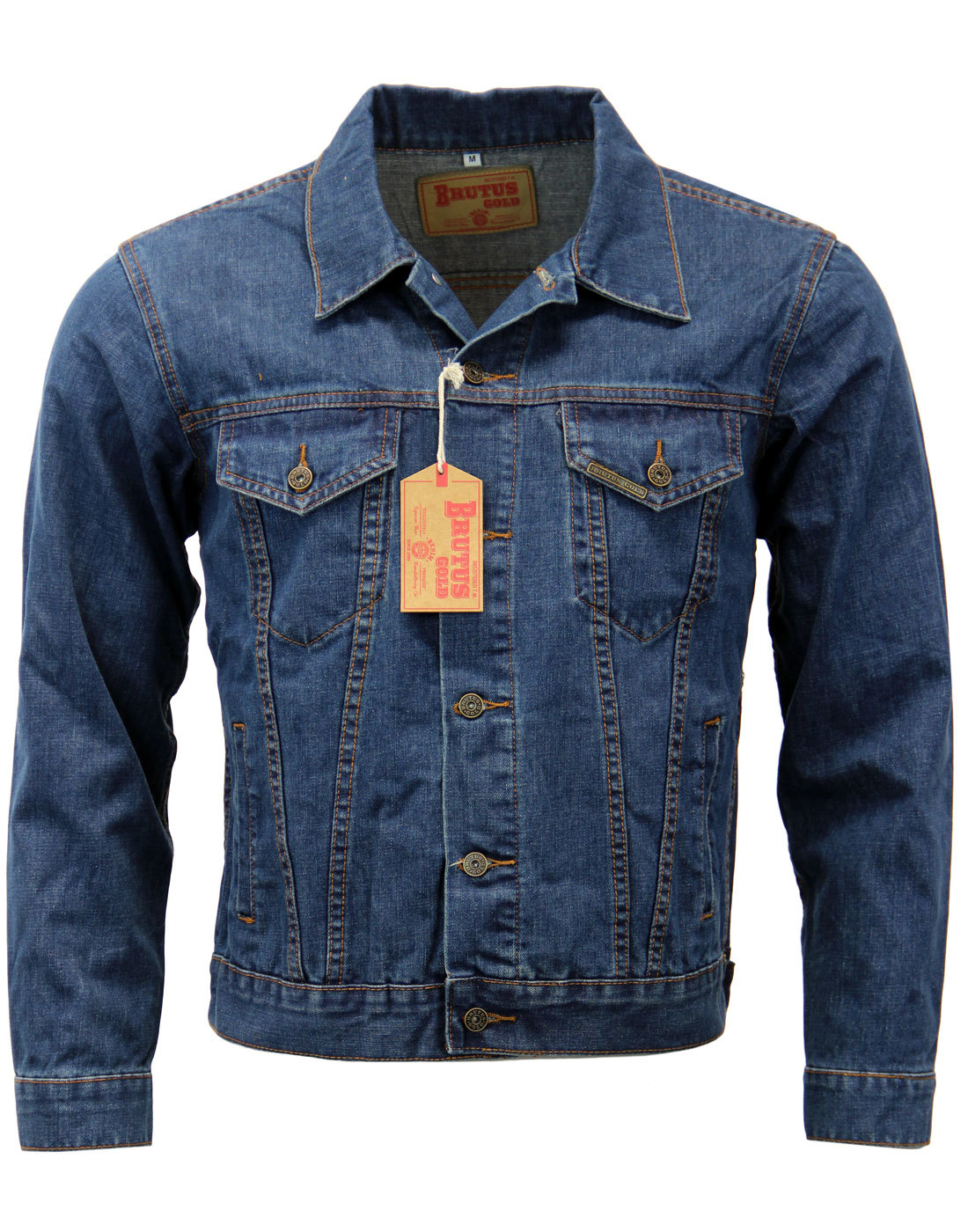 BRUTUS GOLD Retro Mod Blue Denim Trucker Jacket