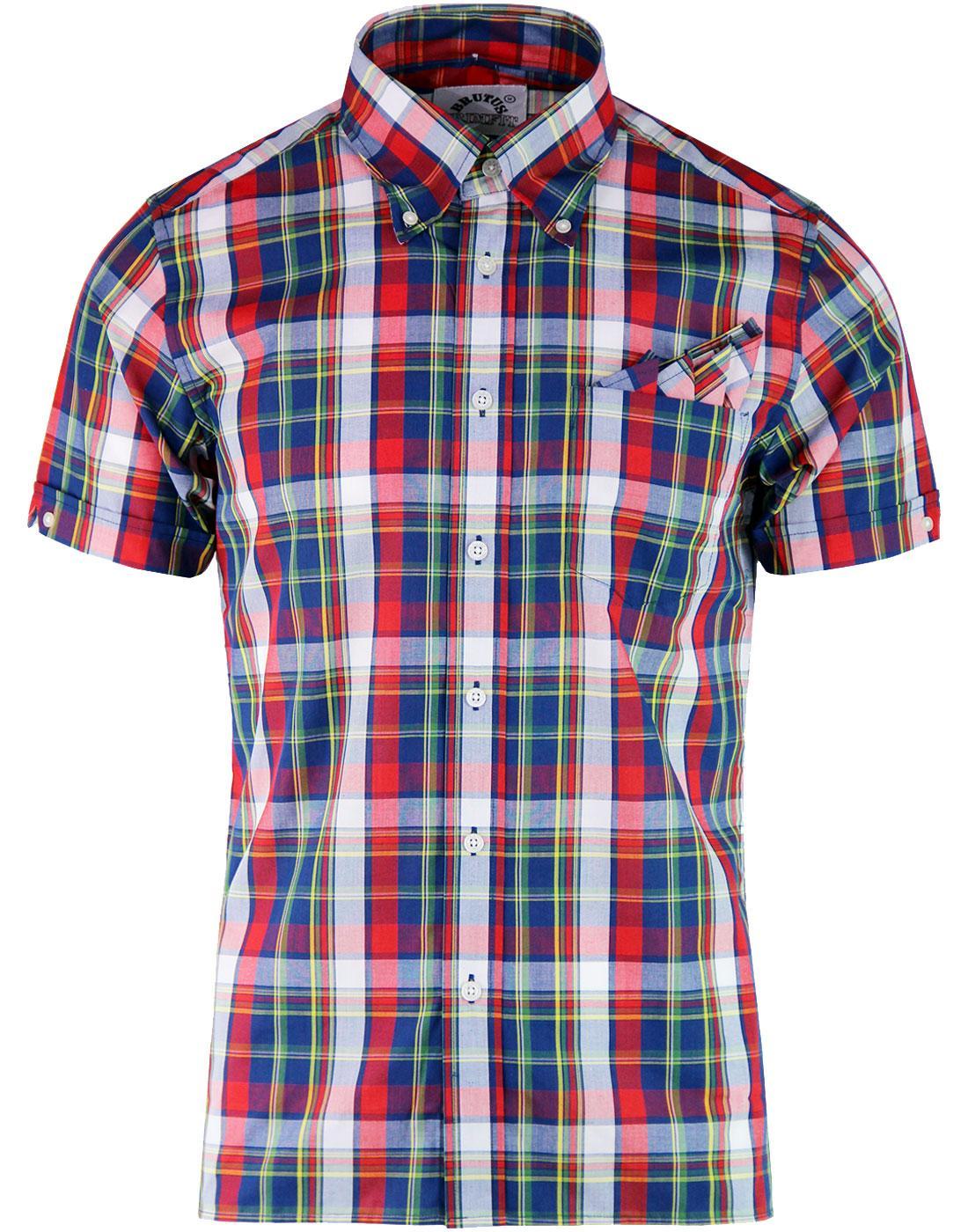 BRUTUS TRIMFIT Retro 60's Check Shirt - Red Madras