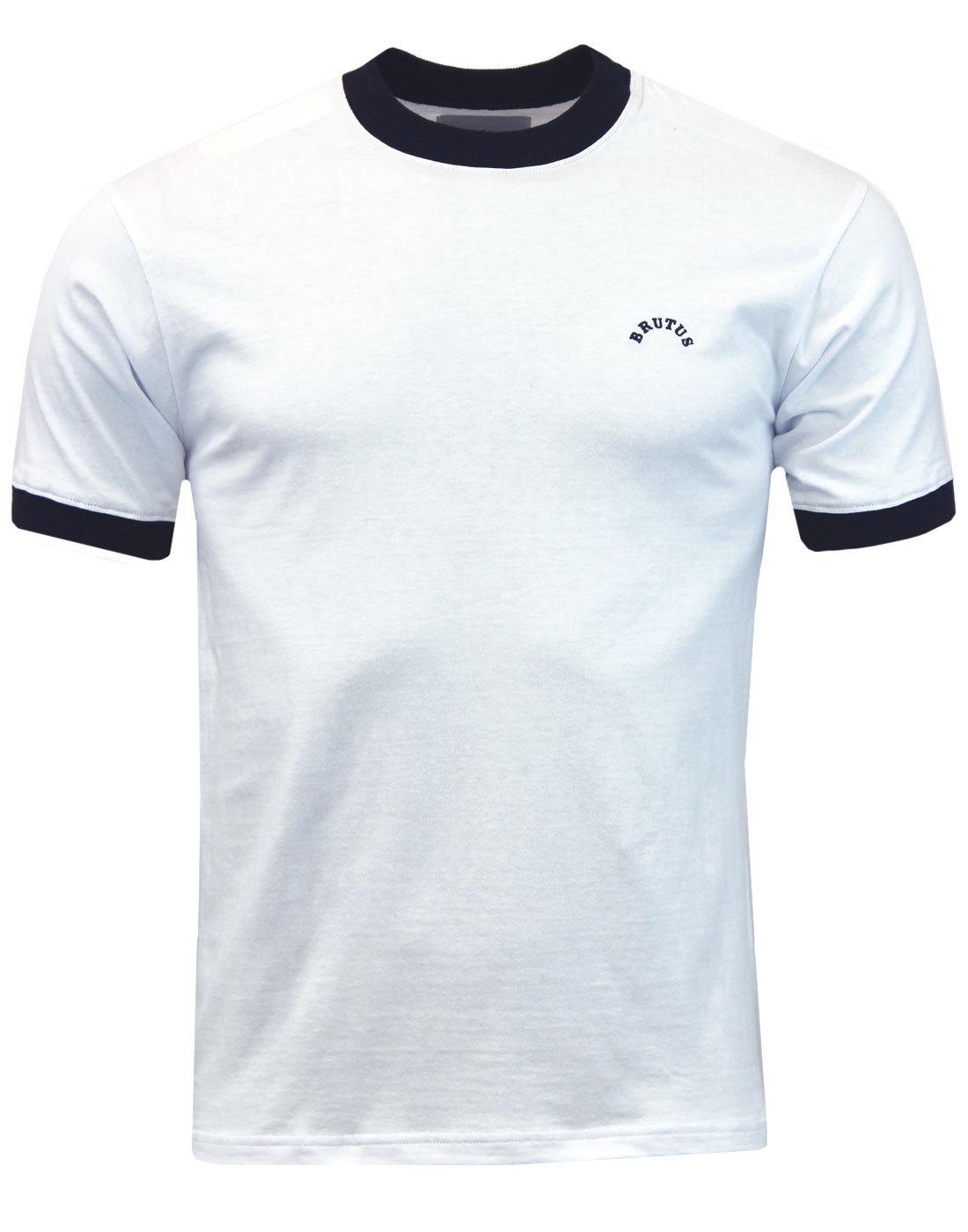 BRUTUS Mens Retro 70s Crew Ringer T-Shirt WHITE