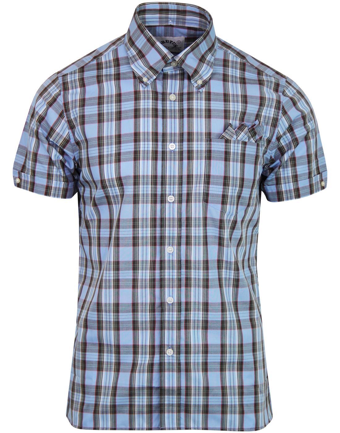 BRUTUS TRIMFIT 1960s Mod Tartan Check Shirt (Blue)