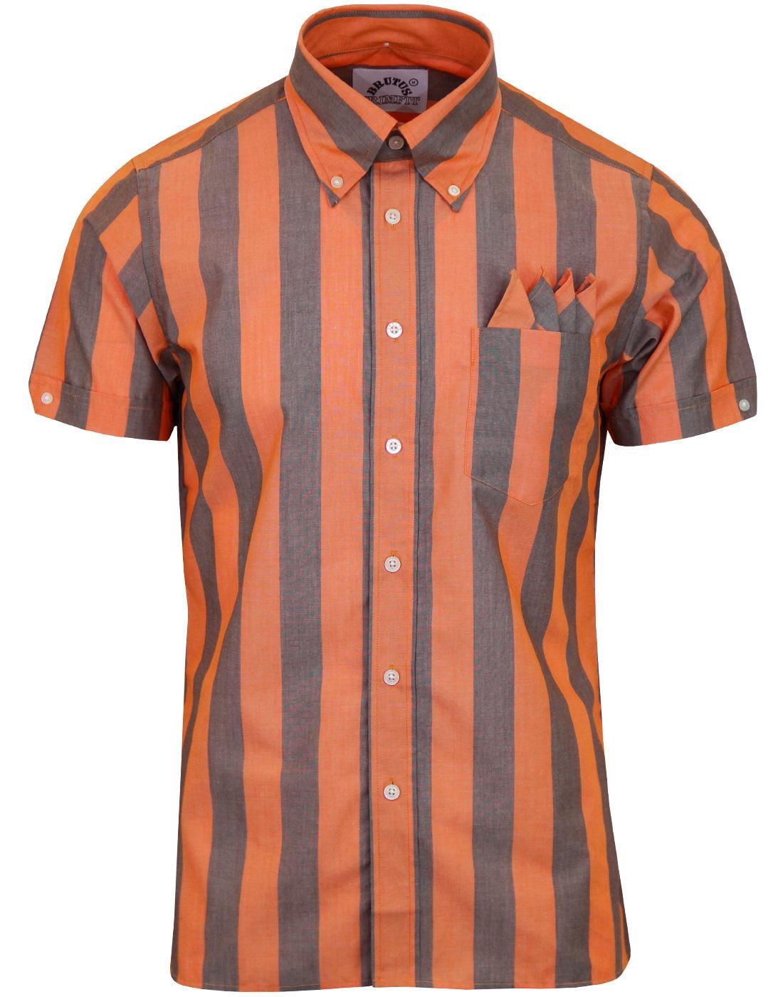 1730c61f6e9711 BRUTUS TRIMFIT Retro Mod Roller Stripe Shirt Orange Cocoa