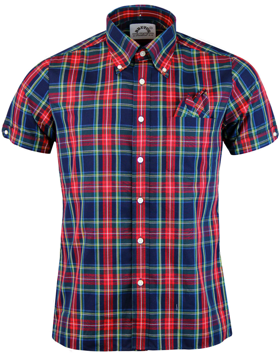 BRUTUS TRIMFIT Heritage Check Retro Mod Shirt NAVY