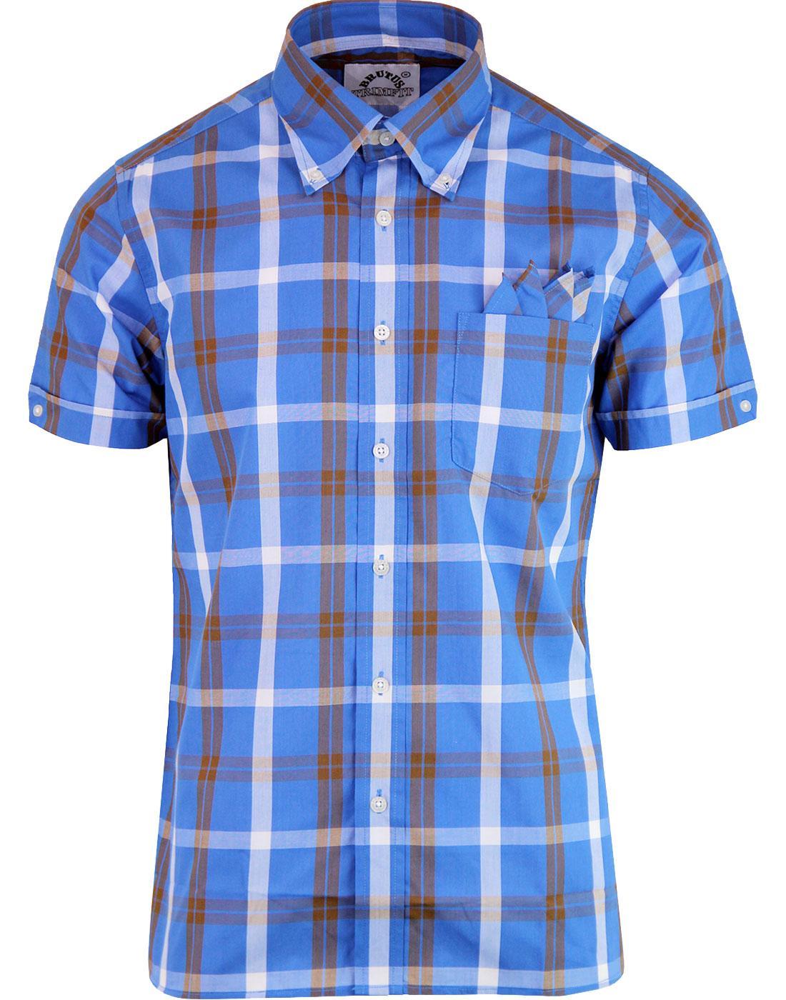 BRUTUS TRIMFIT Men's Mod Window Pane Check Shirt B