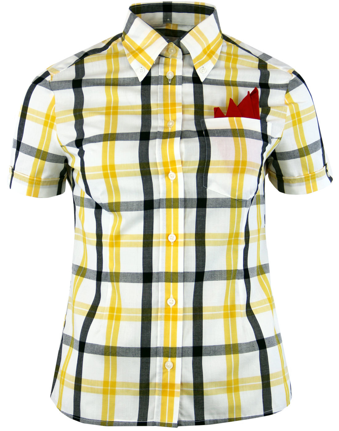BRUTUS TRIMFIT Womens Mod Windowpane Check Shirt