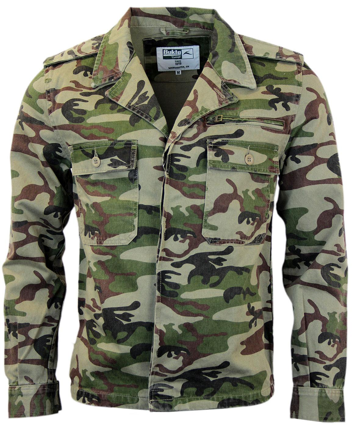 549655faa1e72 One Love Camo Jacket | BUKTA VINTAGE Retro Indie Mod Military Jacket