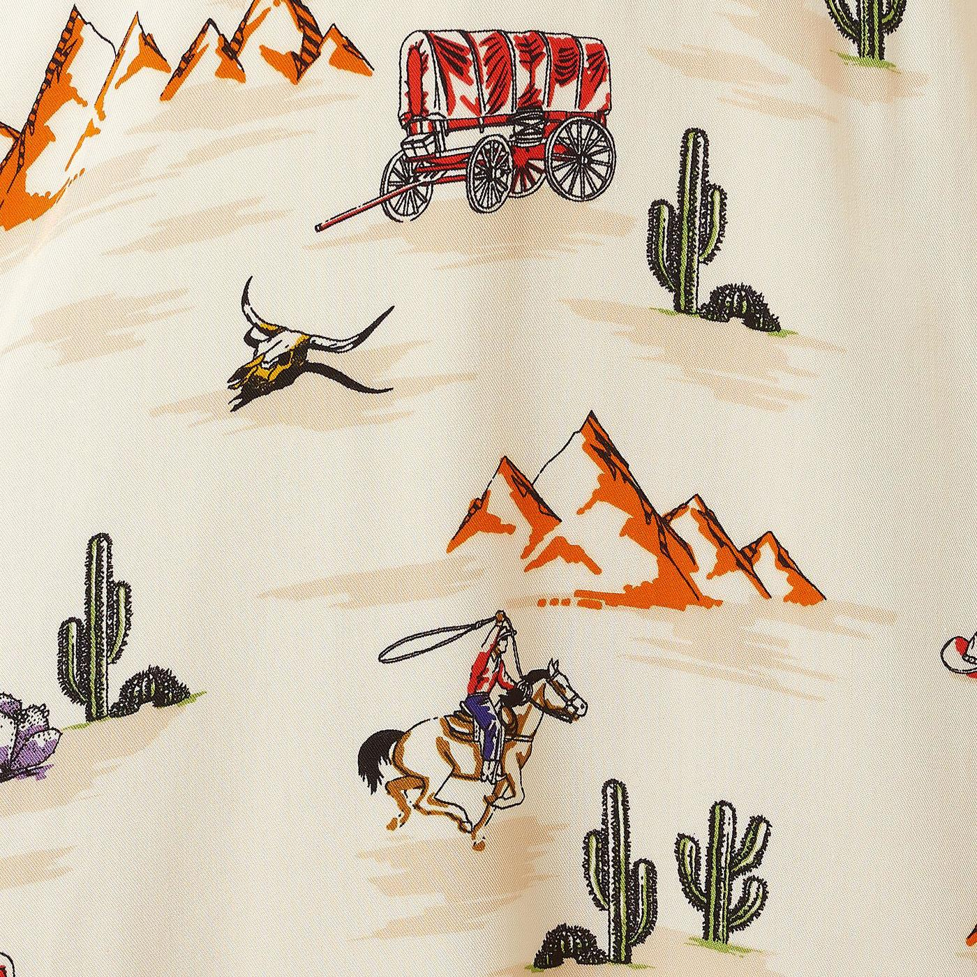Wild West printed fabric of Carrie Vintage Cowboy tea dress