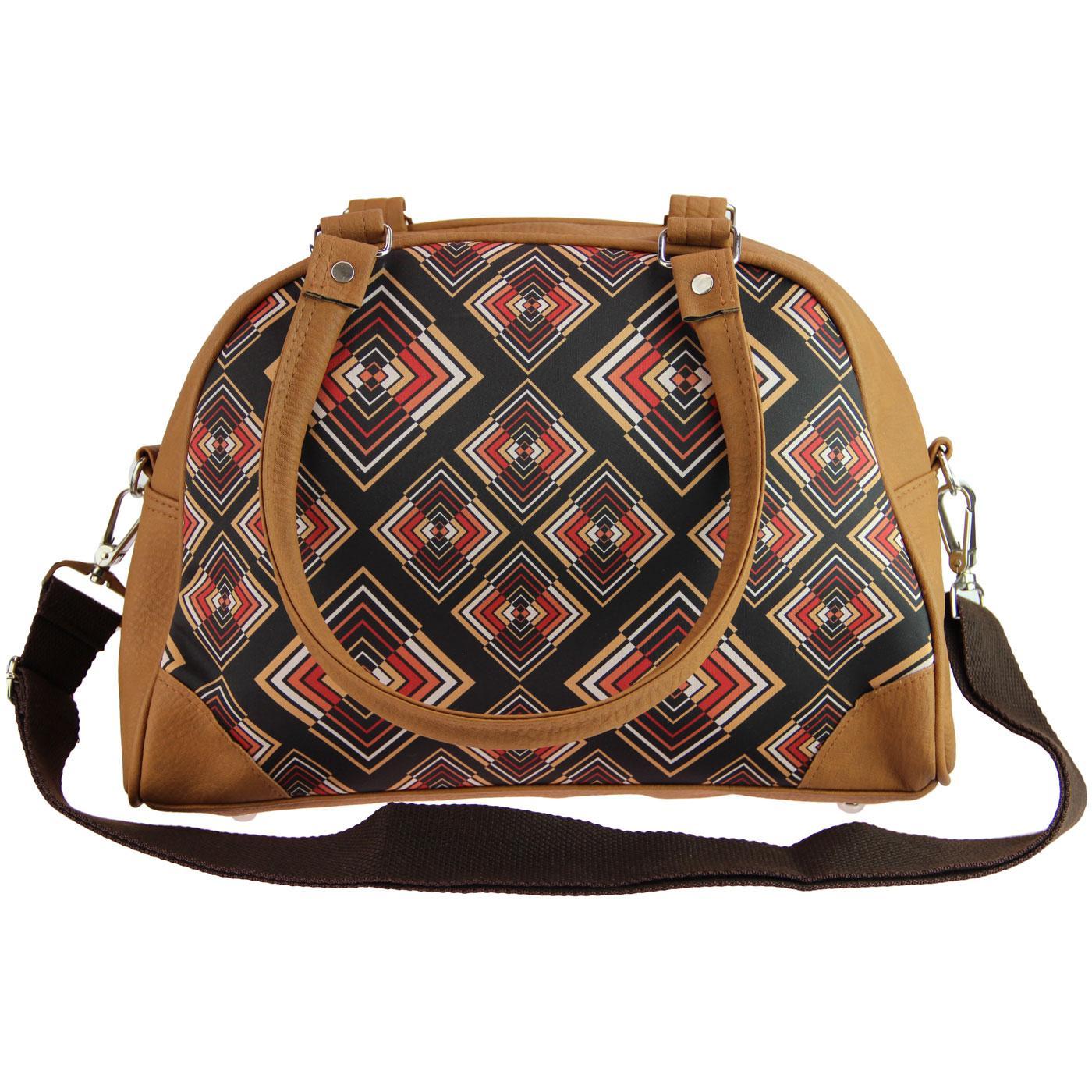 Abstract Rhombus CHENASKI Retro Print Handbag Br