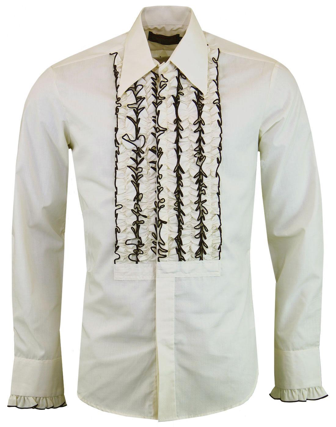 CHENASKI Ruche Frill Retro 1970s Tuxedo Shirt (C)