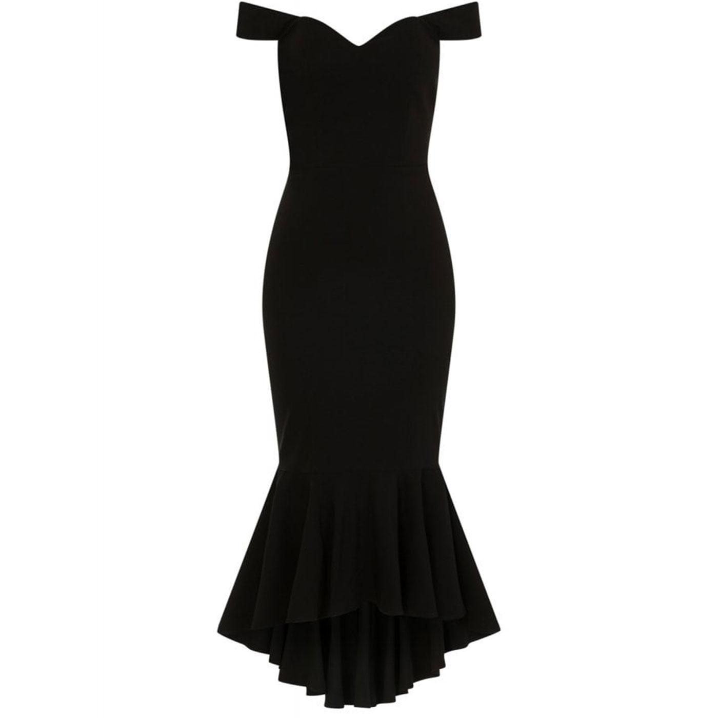 Valentina COLLECTIF 50s Fishtail Pencil Dress Blk