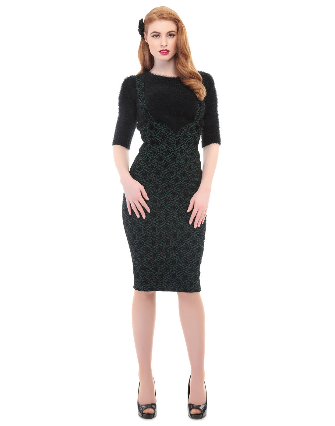 Agarva COLLECTIF 60s High Waist Button Brace Skirt