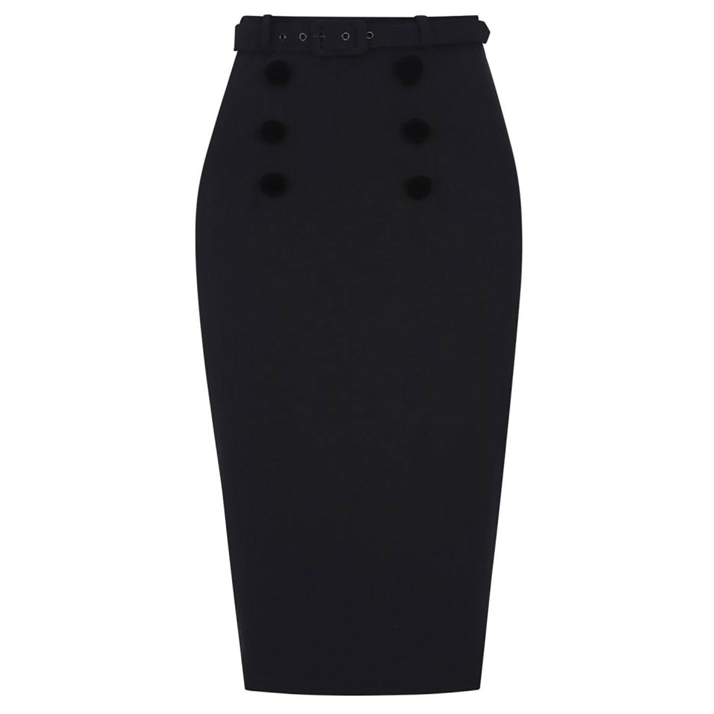 Agatha COLLECTIF Plain 50s Pencil Skirt In Black