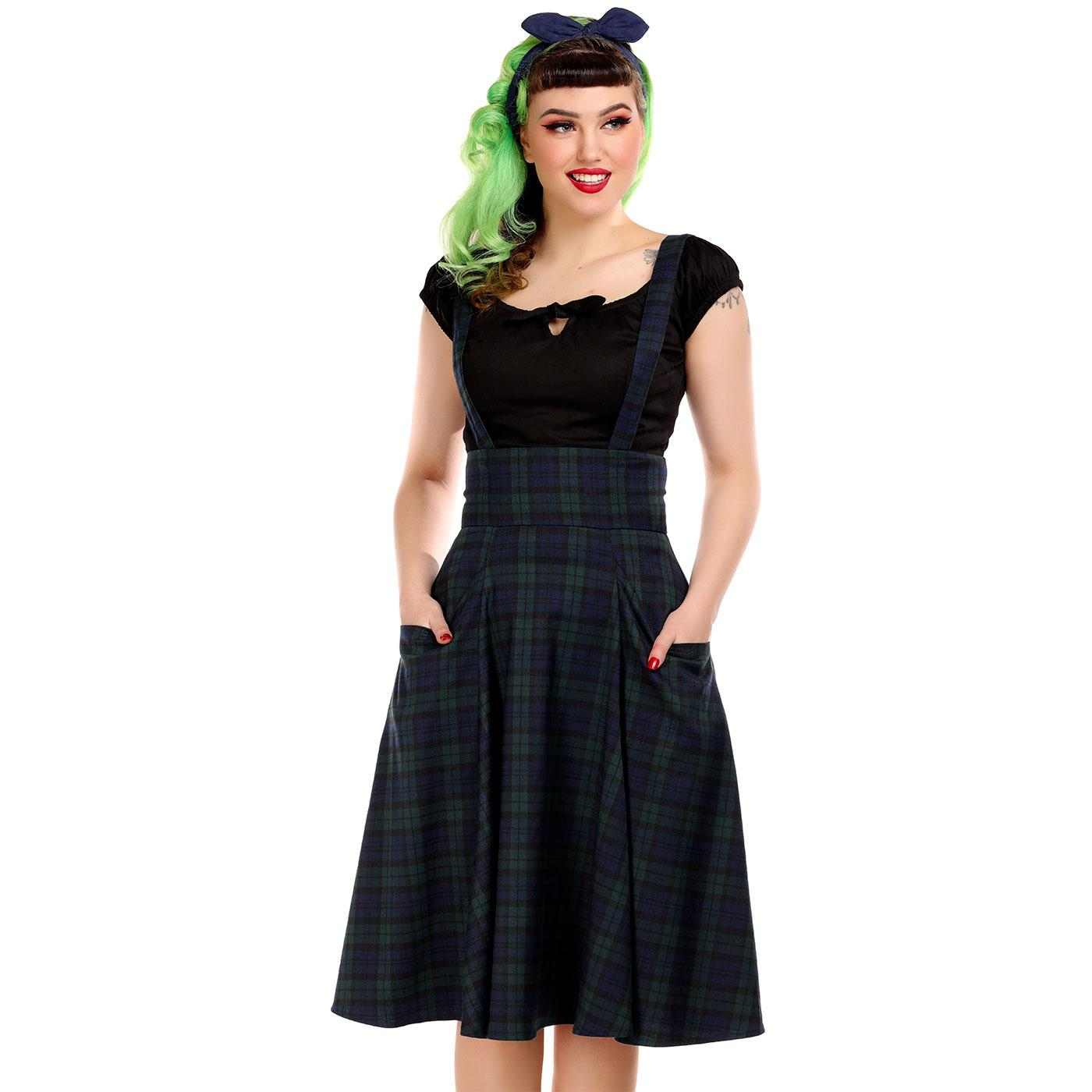 Alexa COLLECTIF Blackwatch Suspender Swing Skirt