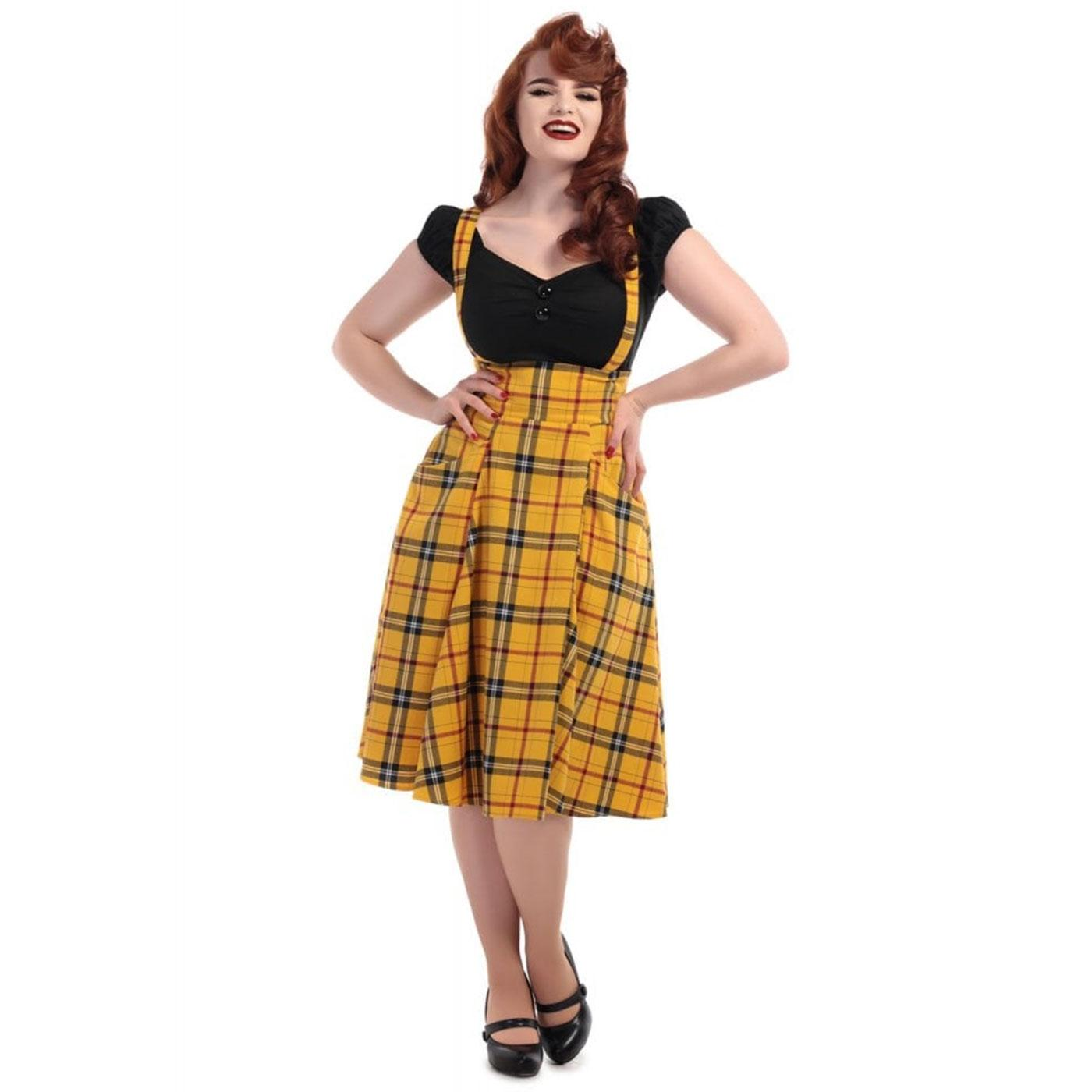 Alexa COLLECTIF Retro 50s Strap Check Swing Skirt