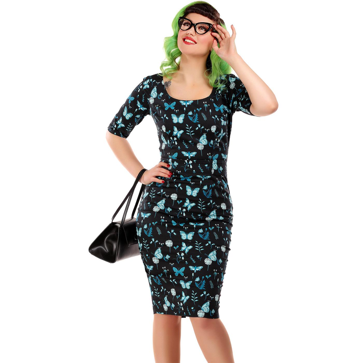 Amber COLLECTIF Midnight Butterfly Pencil Dress
