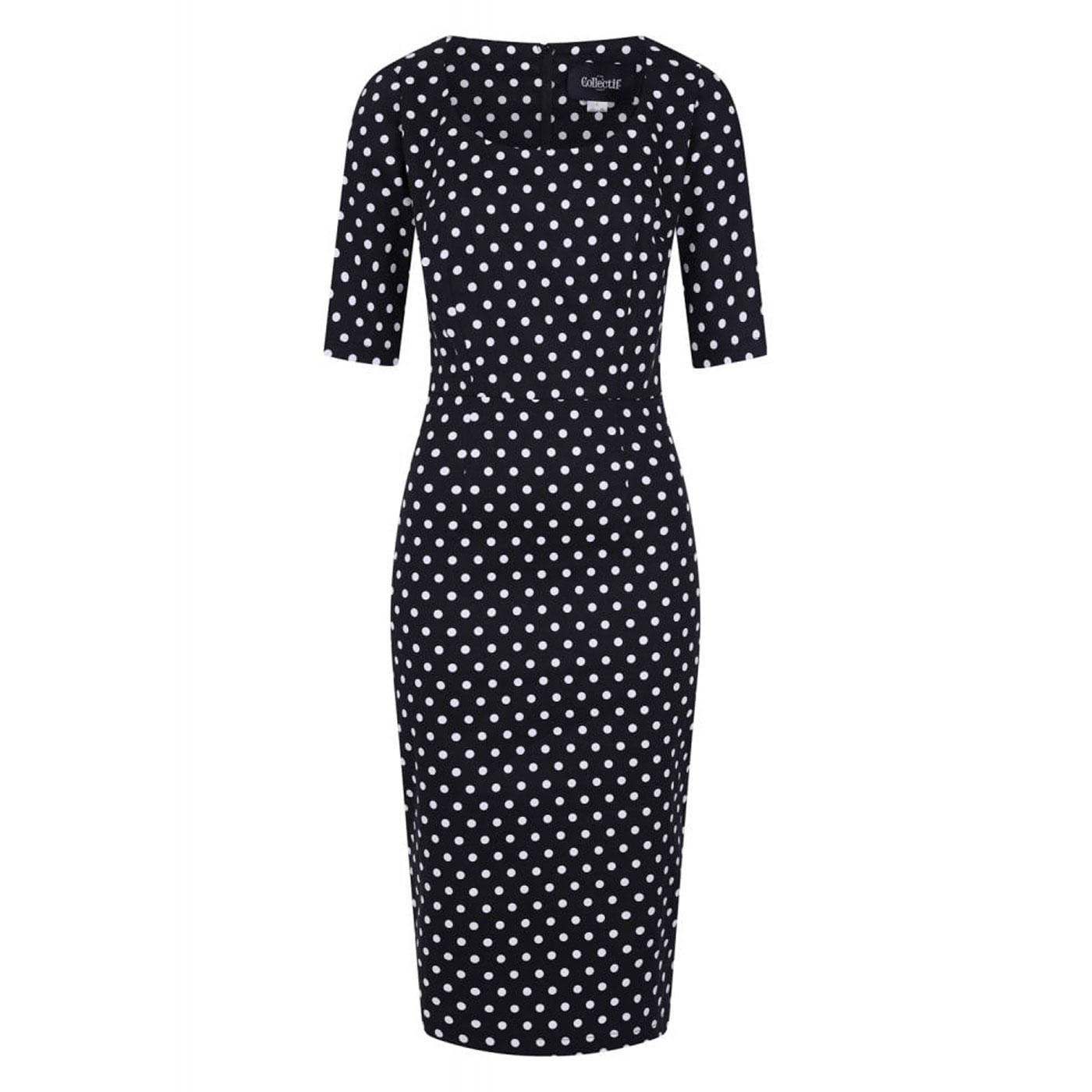Amber COLLECTIF Polka Dot Pencil Dress In Black