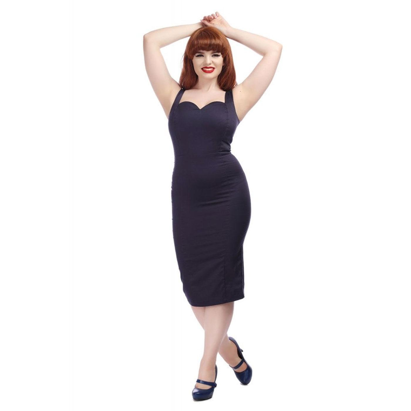 Anita COLLECTIF Retro 50s Summer Pencil Dress Navy