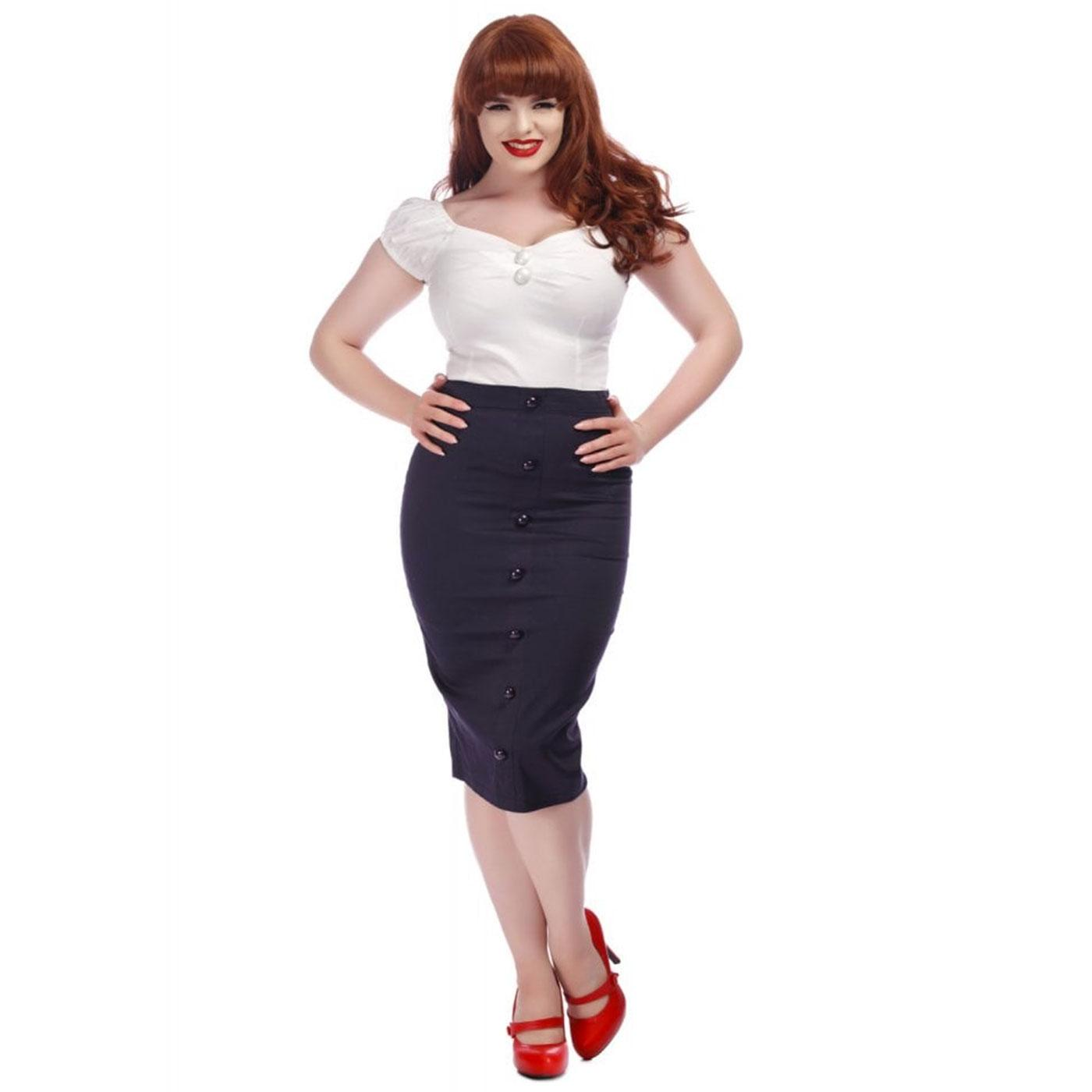 Bettina COLLECTIF Retro Vintage Navy Pencil Skirt