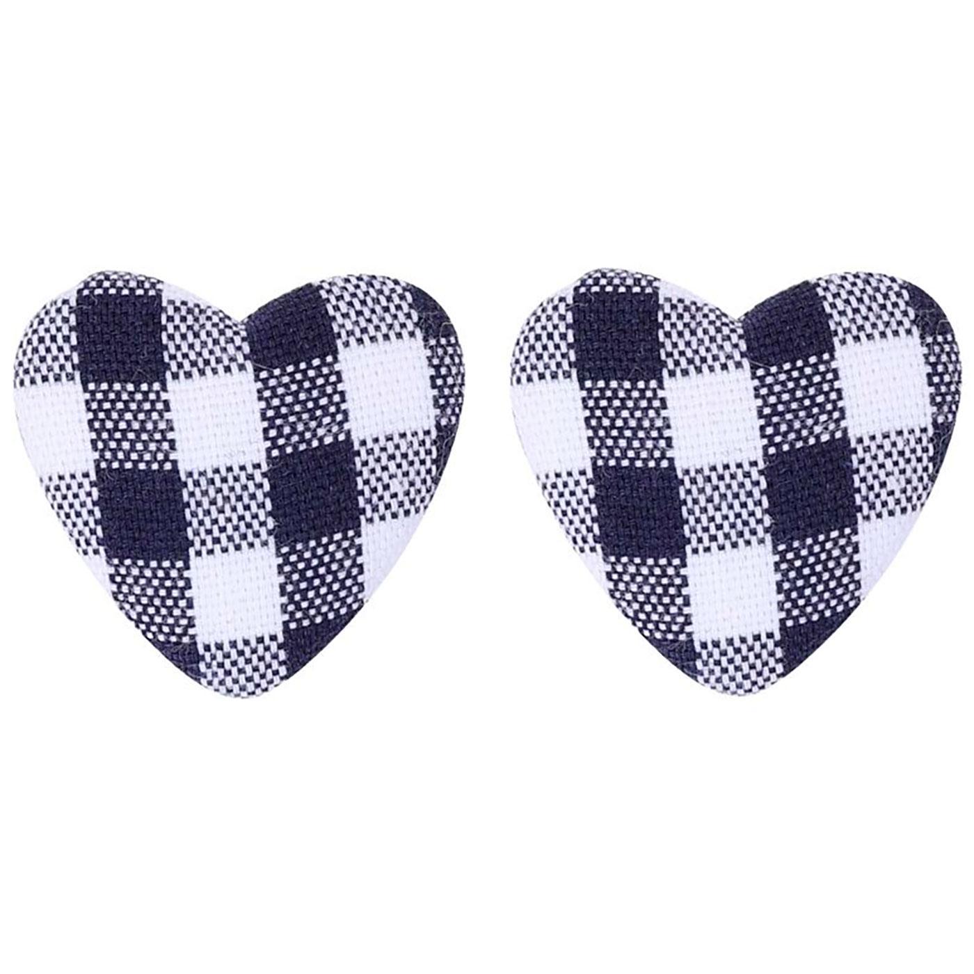 + Bobby COLLECTIF Gingham Heart Stud Earrings B/W