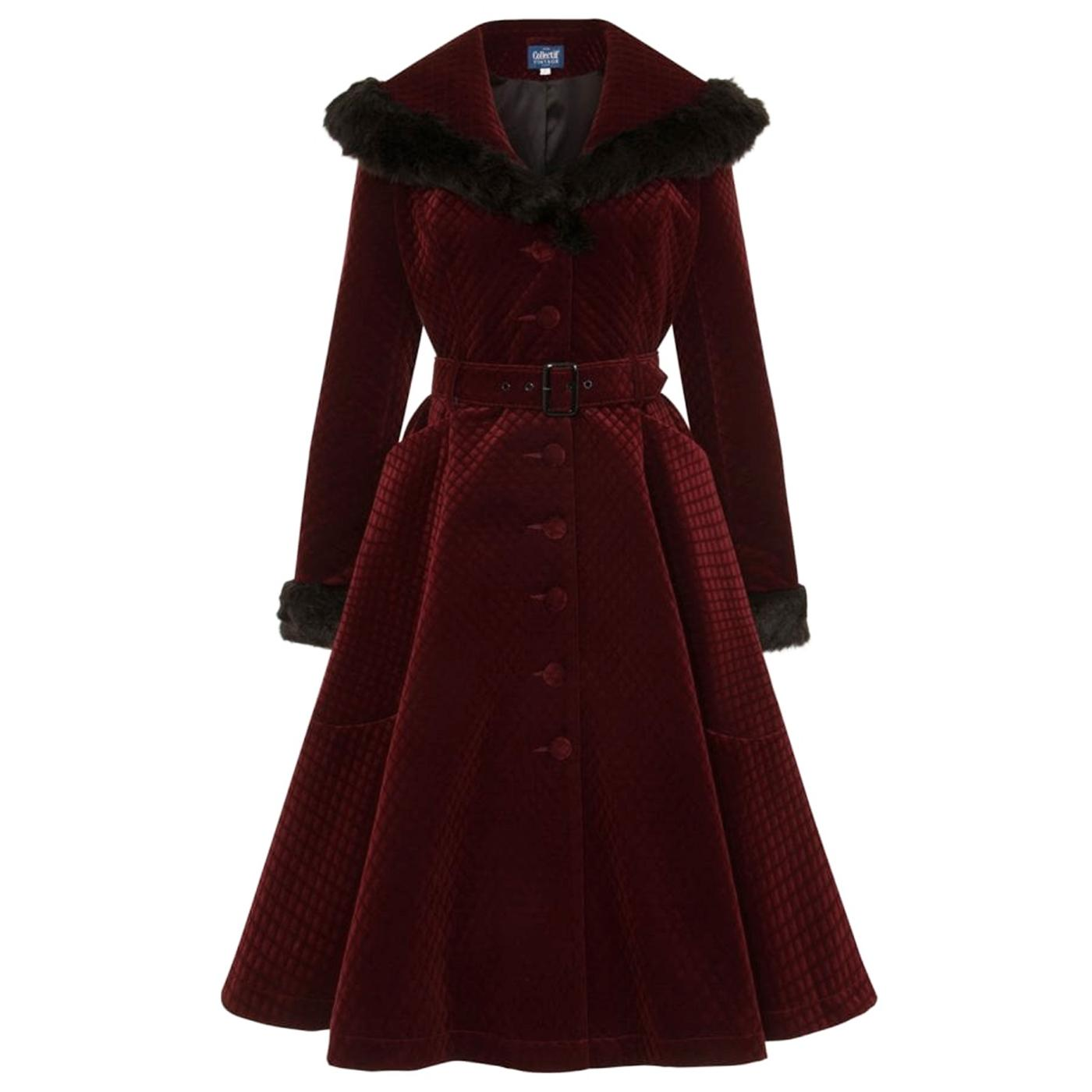 Callie COLLECTIF Quilted Velvet Swing Coat in Wine