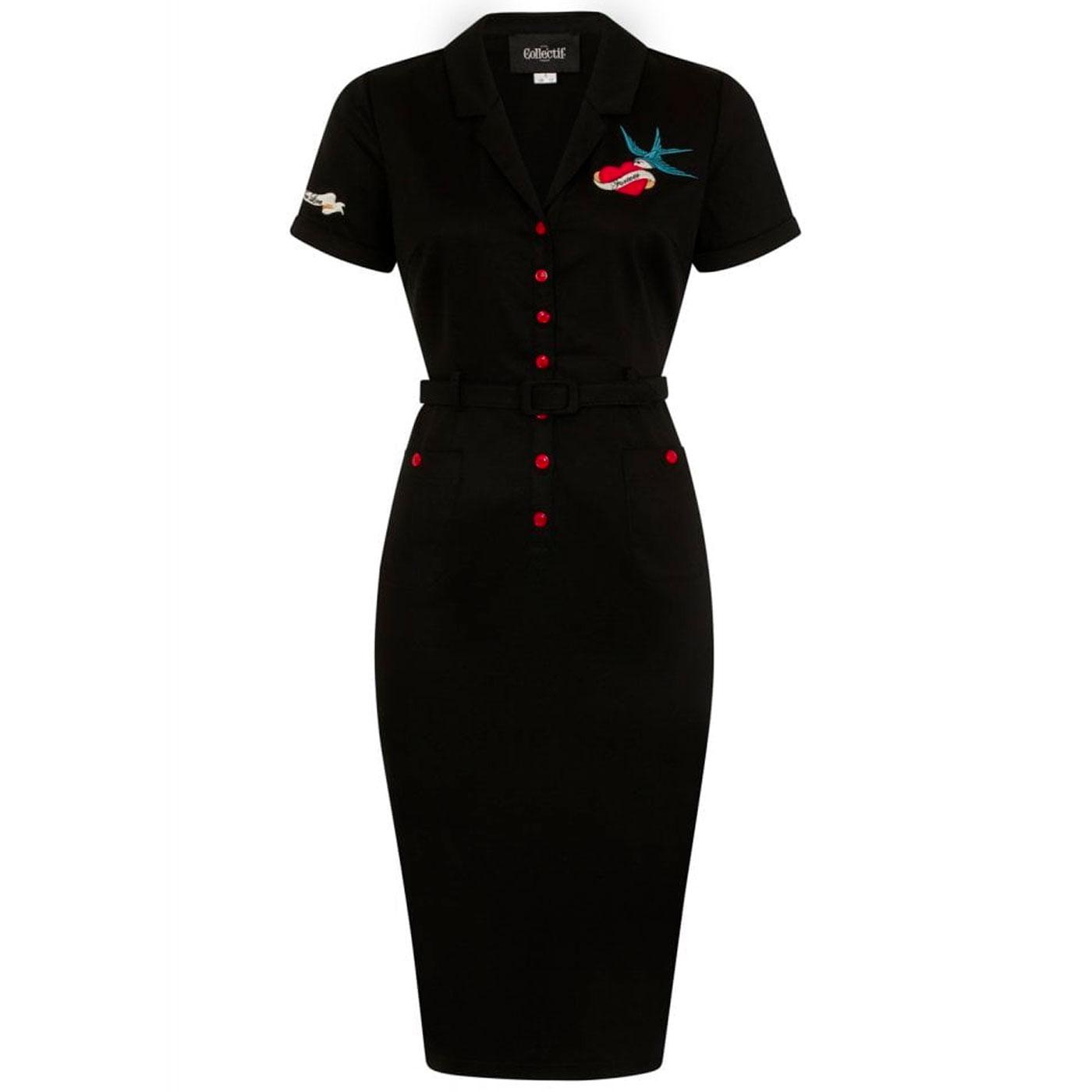 Caterina COLLECTIF True Love Tattoo Pencil Dress