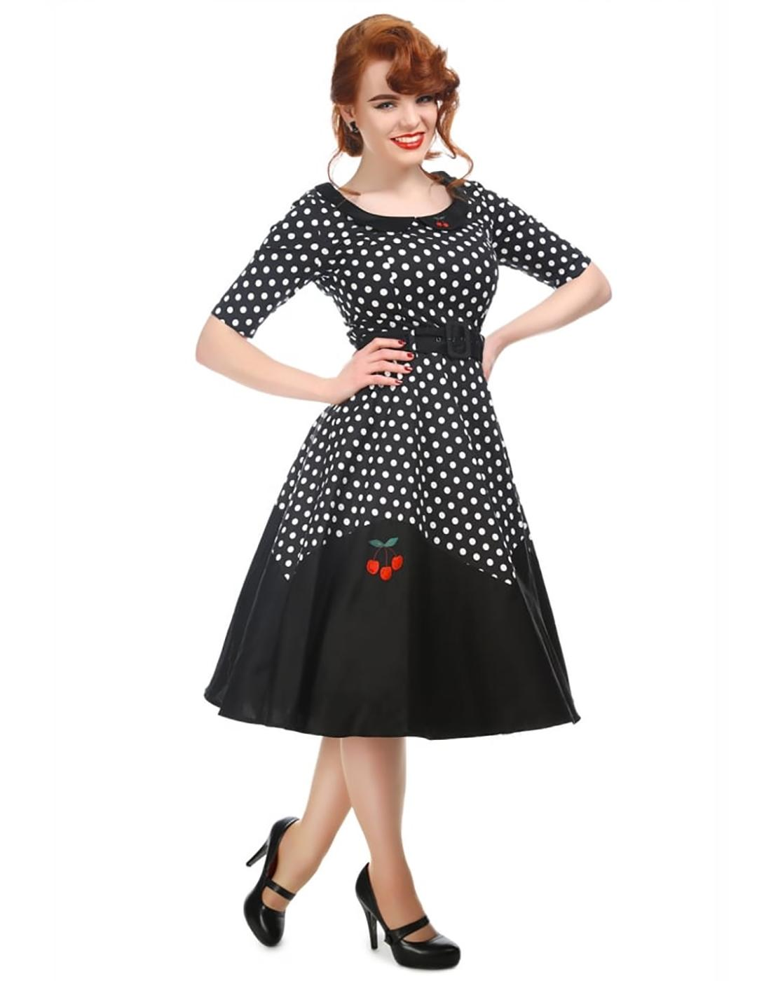 Cherry COLLECTIF Retro 50s Polka Dot Doll Dress