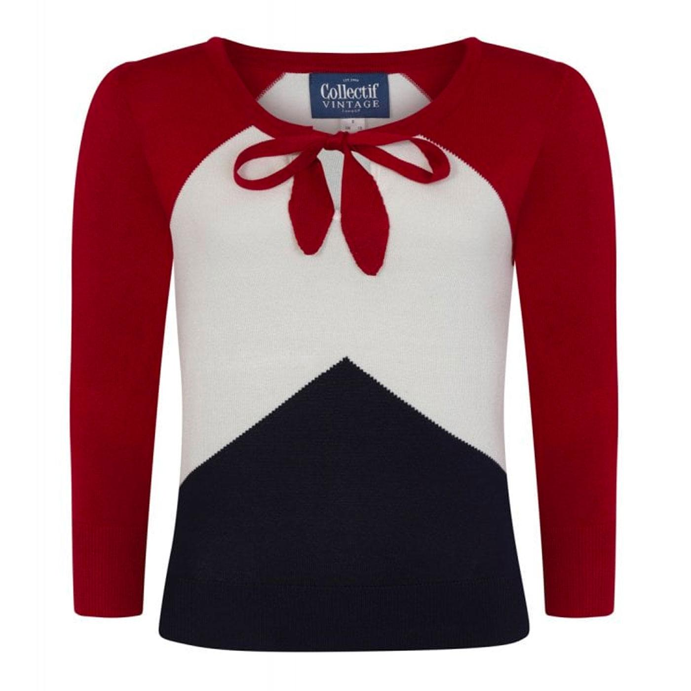 Claretta COLLECTIF Colour Block Chevron Jumper