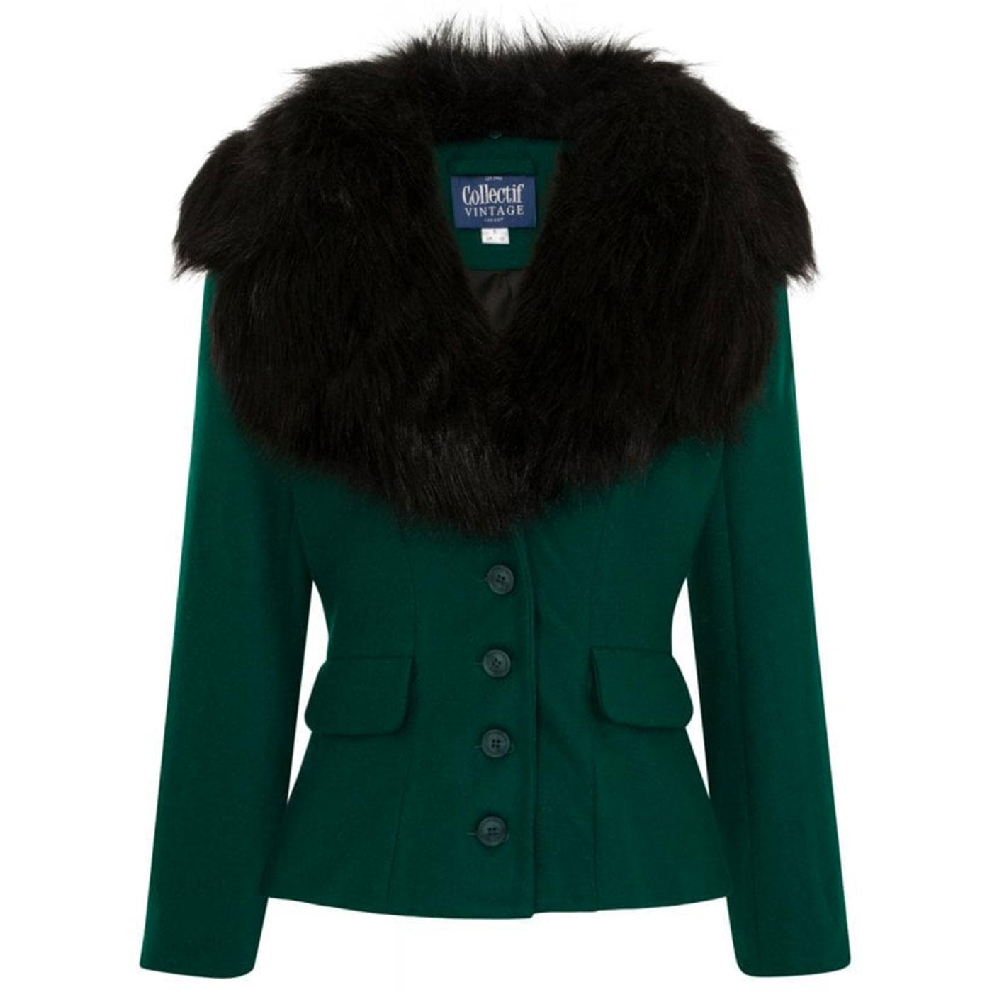 Cora COLLETIF Retro 50s Faux Fur Collar Jacket